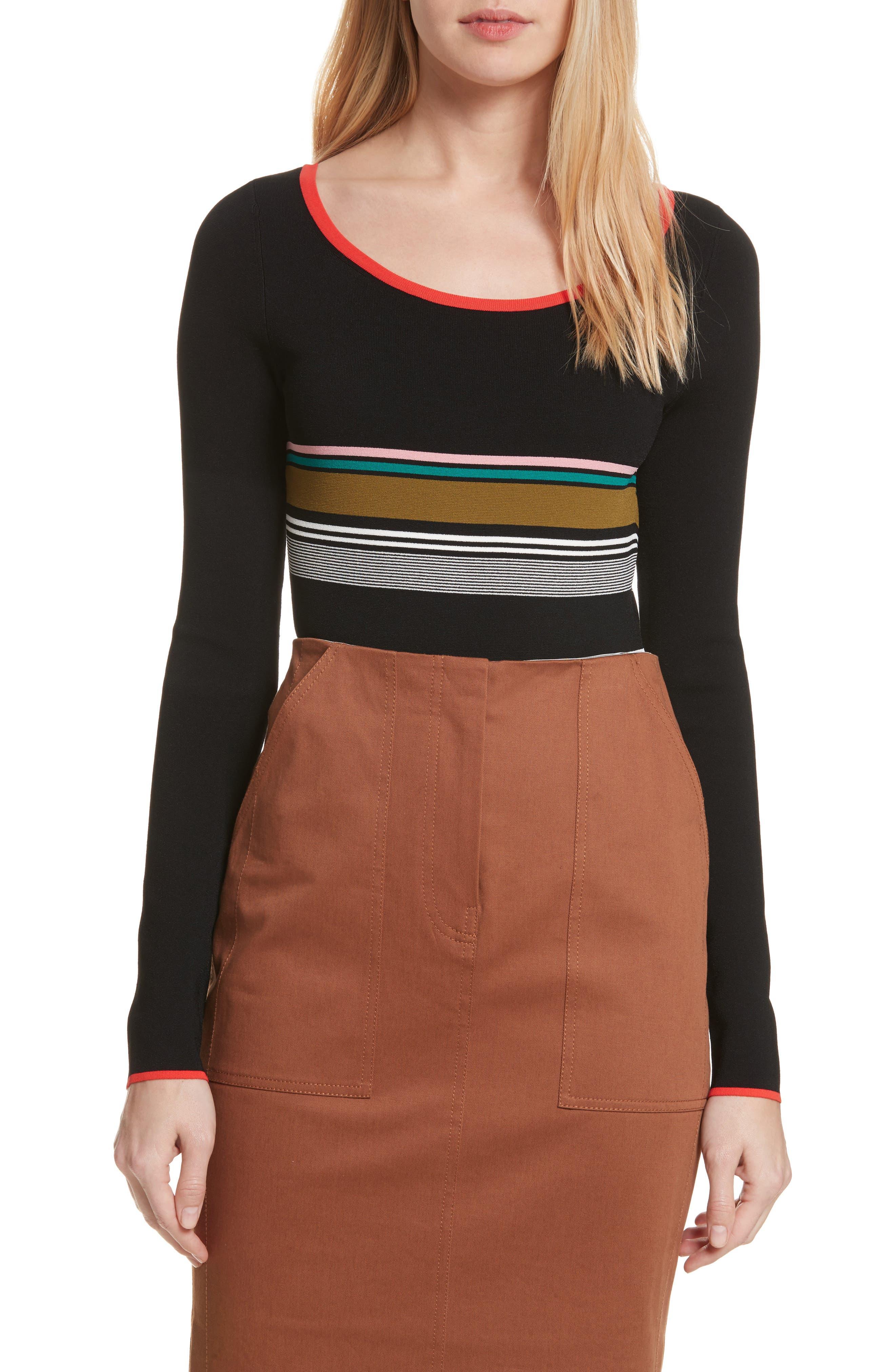 Diane von Furstenberg Stripe Knit Bodysuit