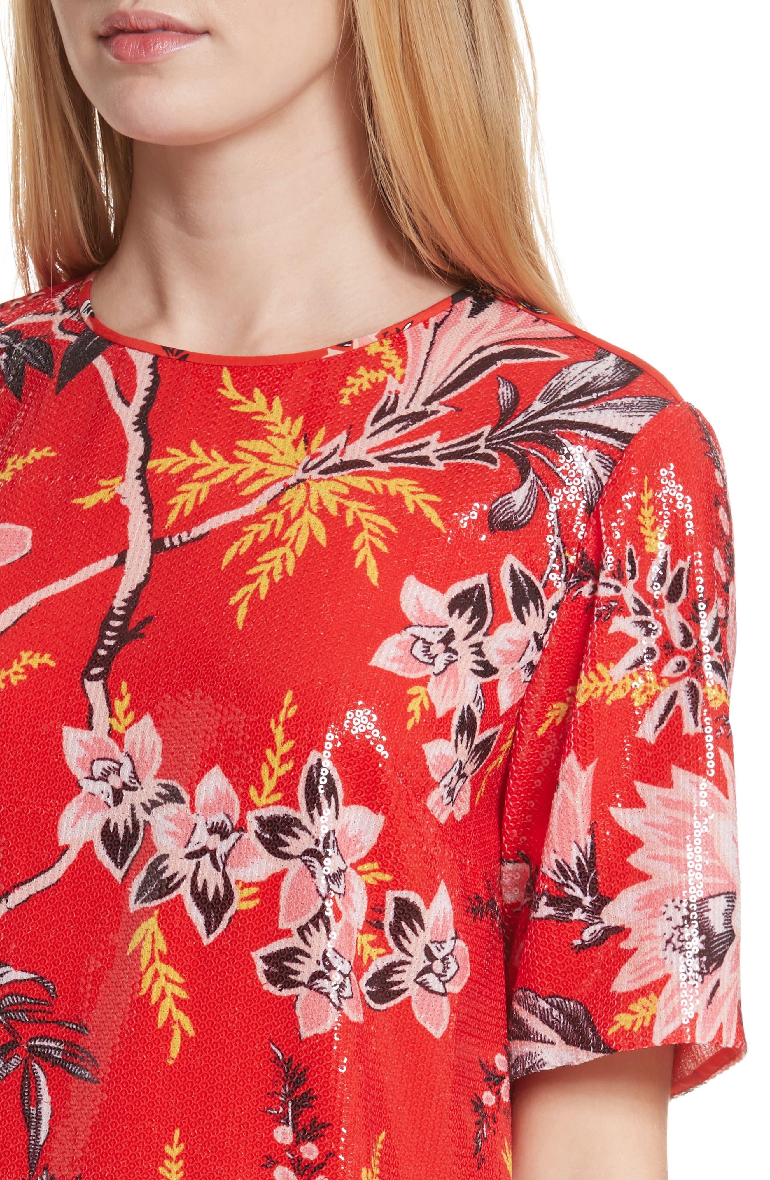 Diane von Furstenberg Fluid Sequin Minidress,                             Alternate thumbnail 4, color,                             Avalon Poppy