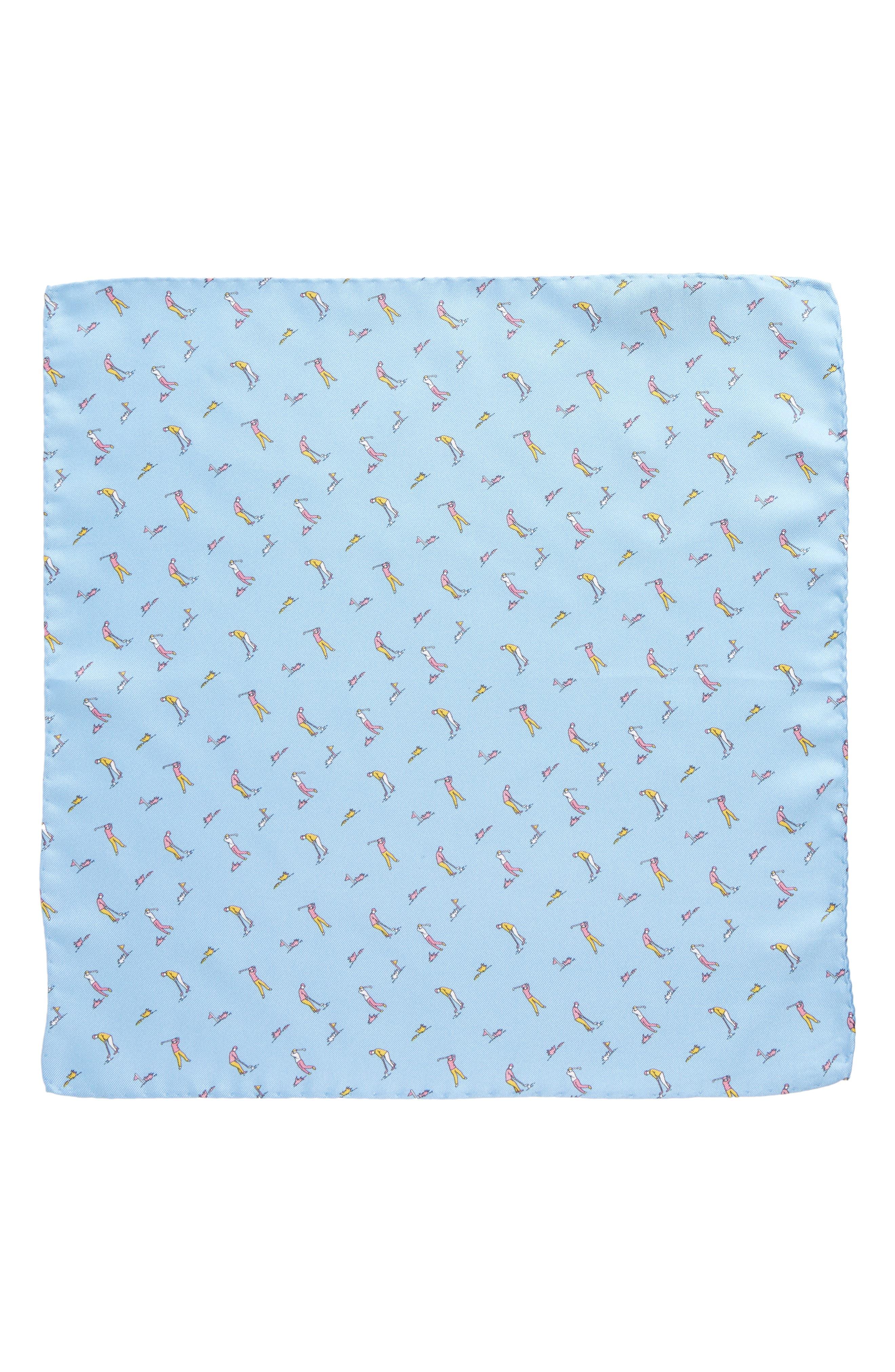 Foreplay Silk Pocket Square,                             Alternate thumbnail 3, color,                             Light Blue