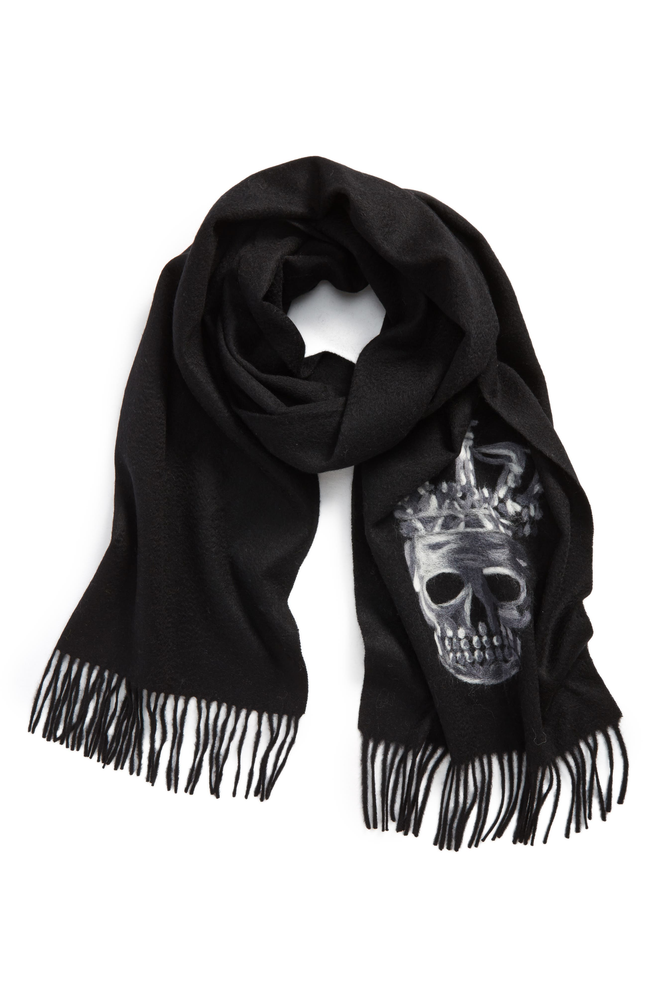 John Varvatos Star USA Skull Wool Scarf