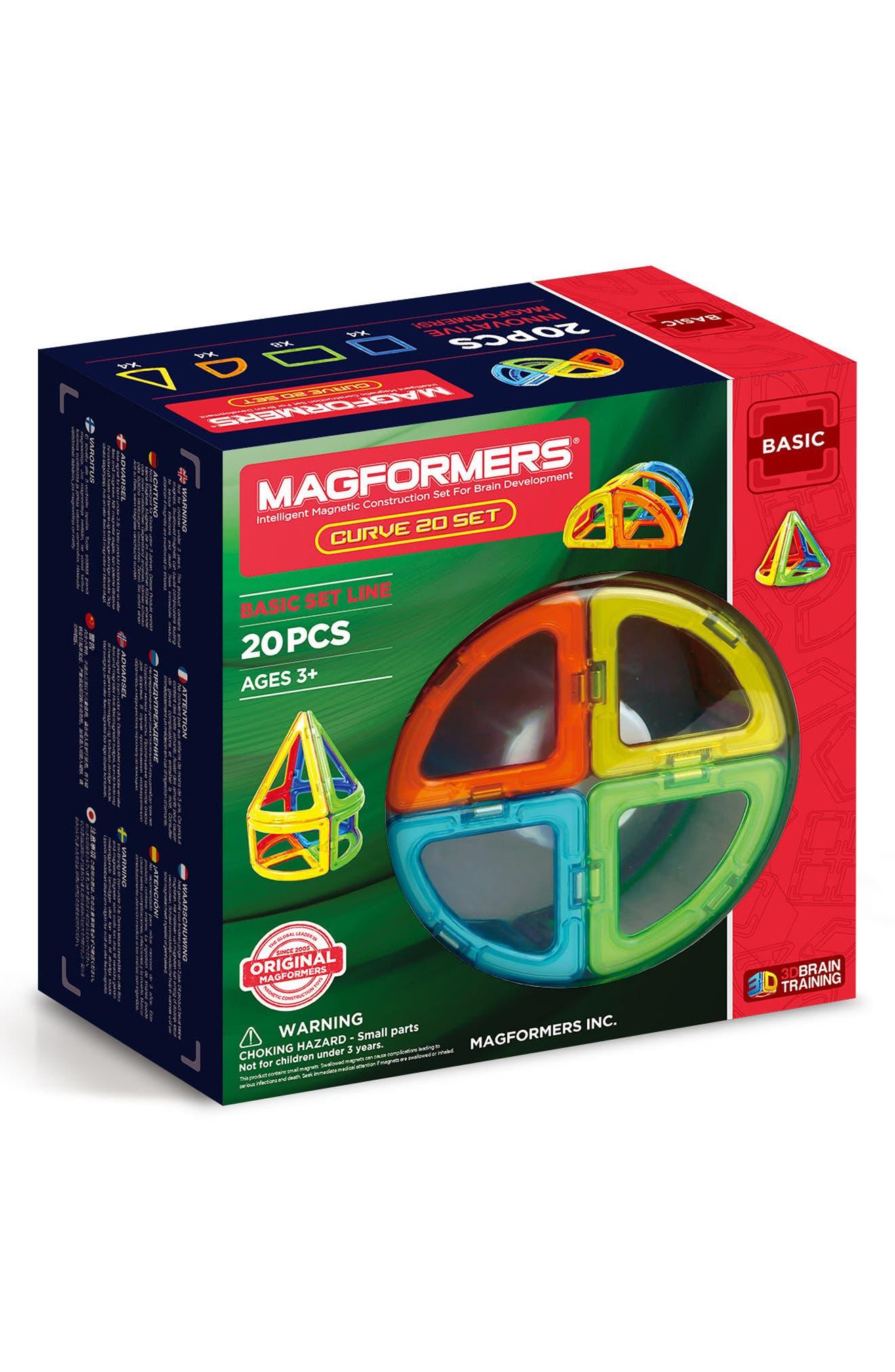 20-Piece Curve Magnetic 3D Construction Set,                         Main,                         color, Multi