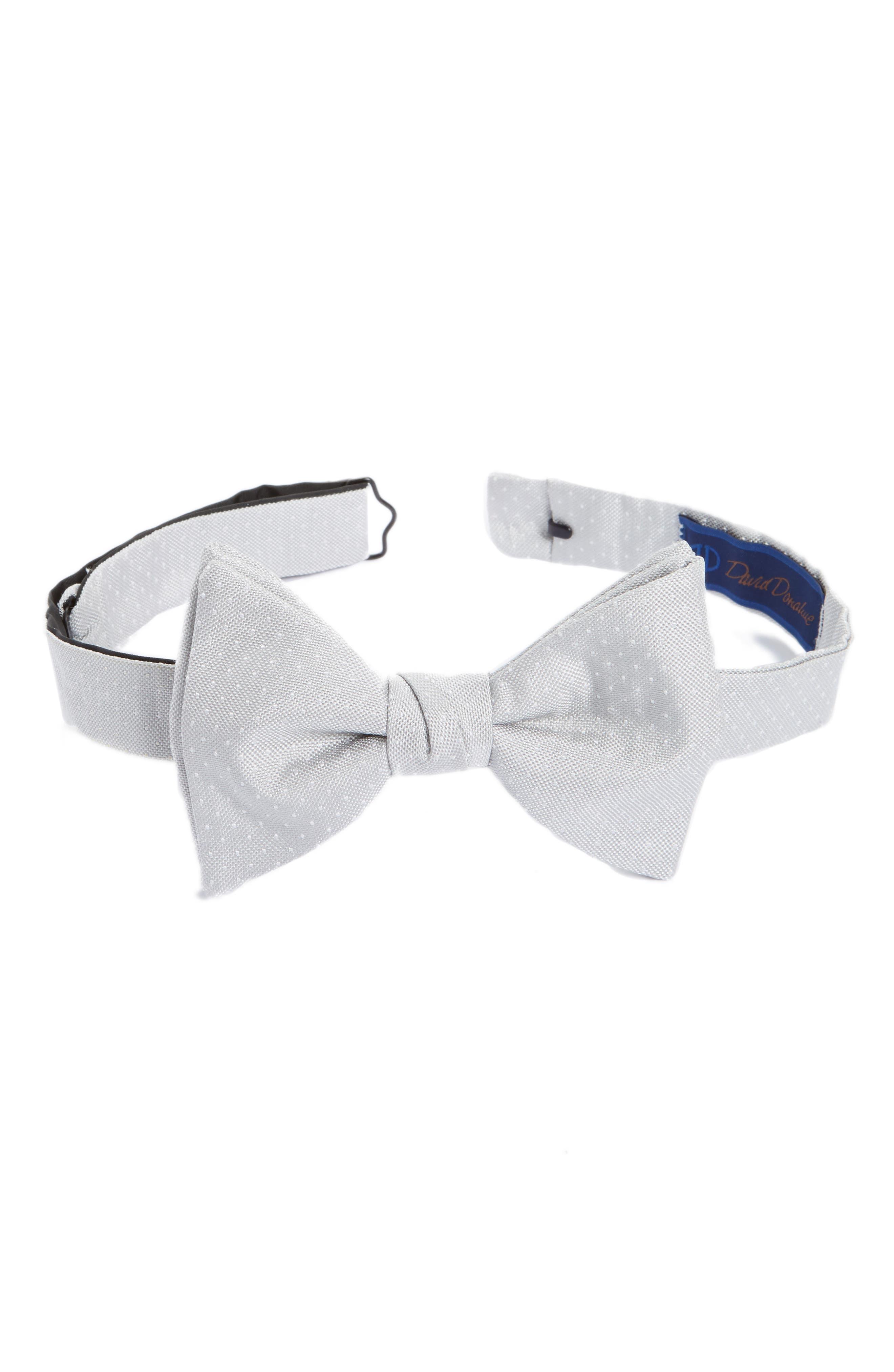 Dot Silk Bow Tie,                             Main thumbnail 1, color,                             Silver