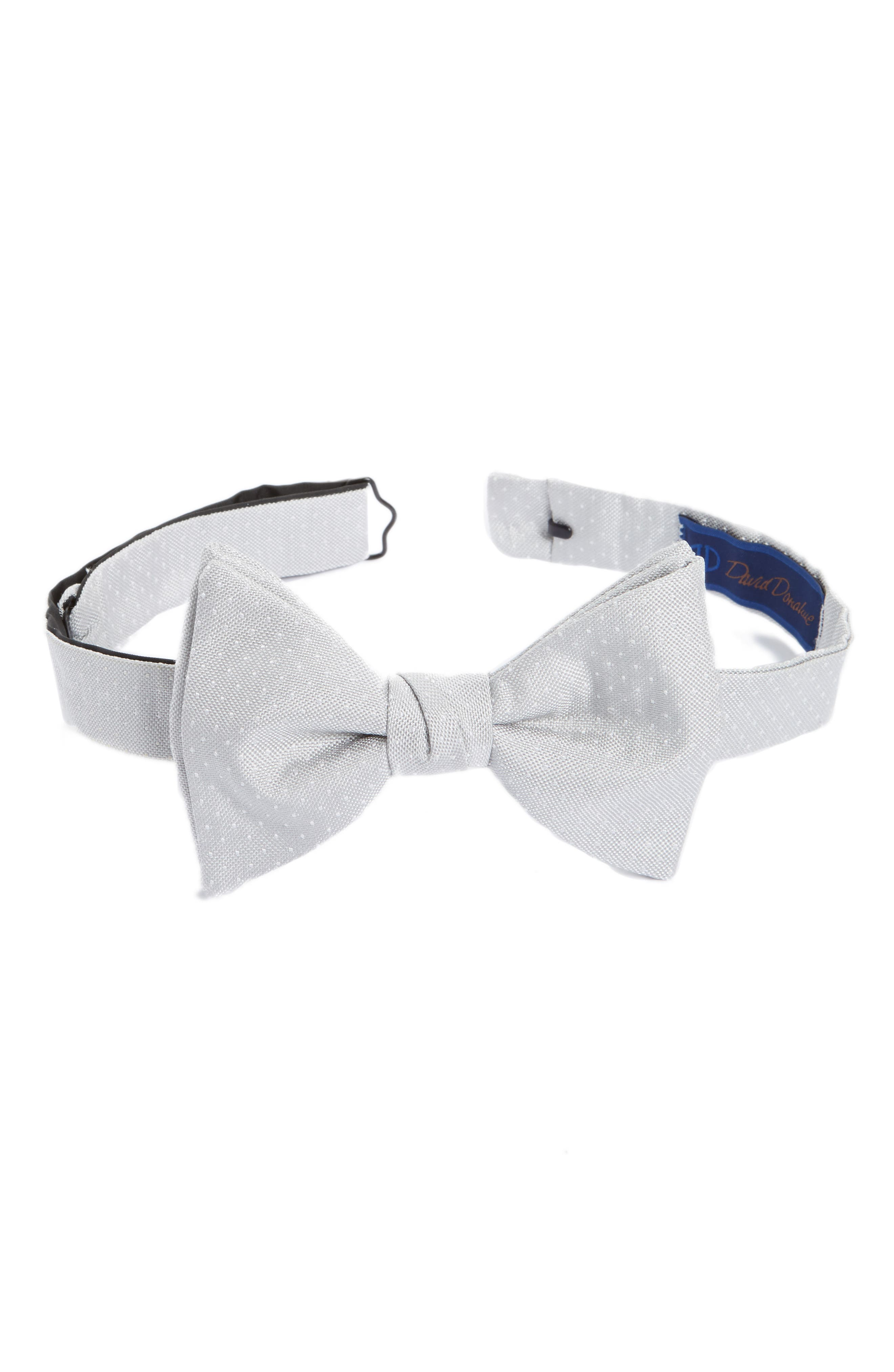 Dot Silk Bow Tie,                         Main,                         color, Silver