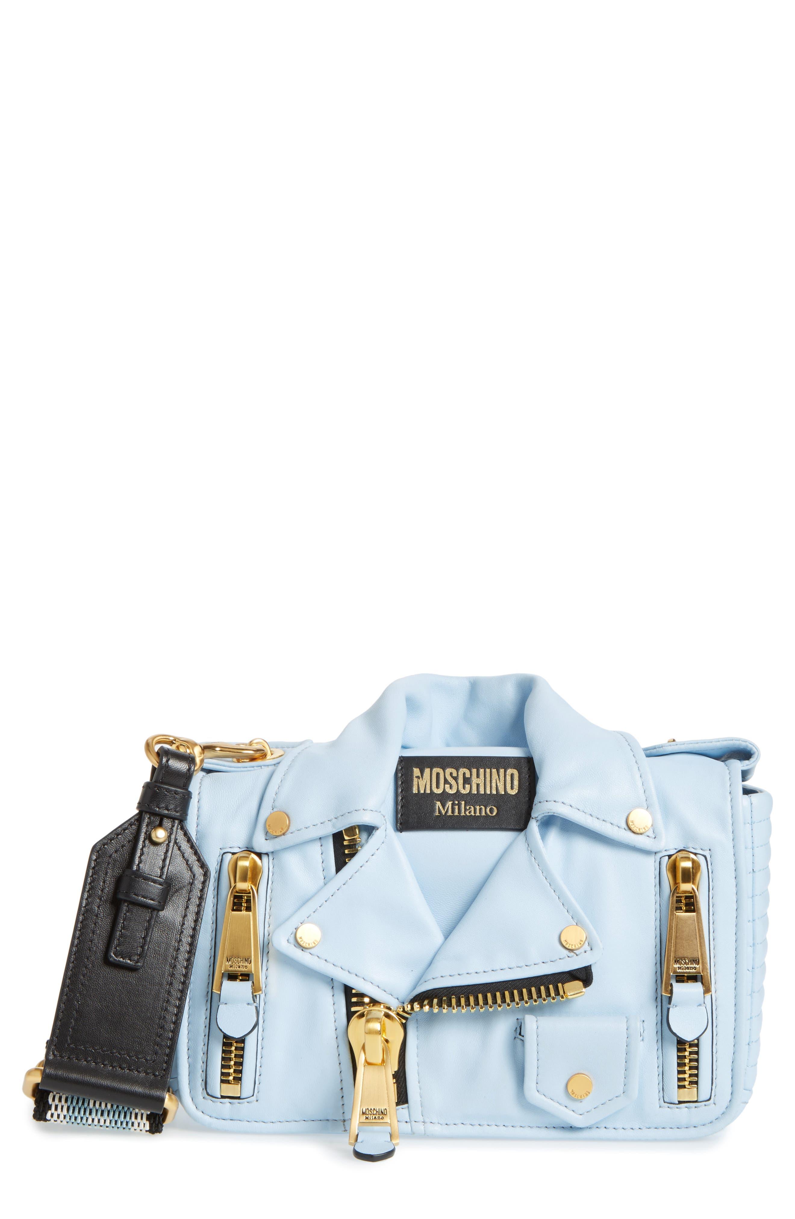 Moschino Biker Jacket Leather Shoulder Bag