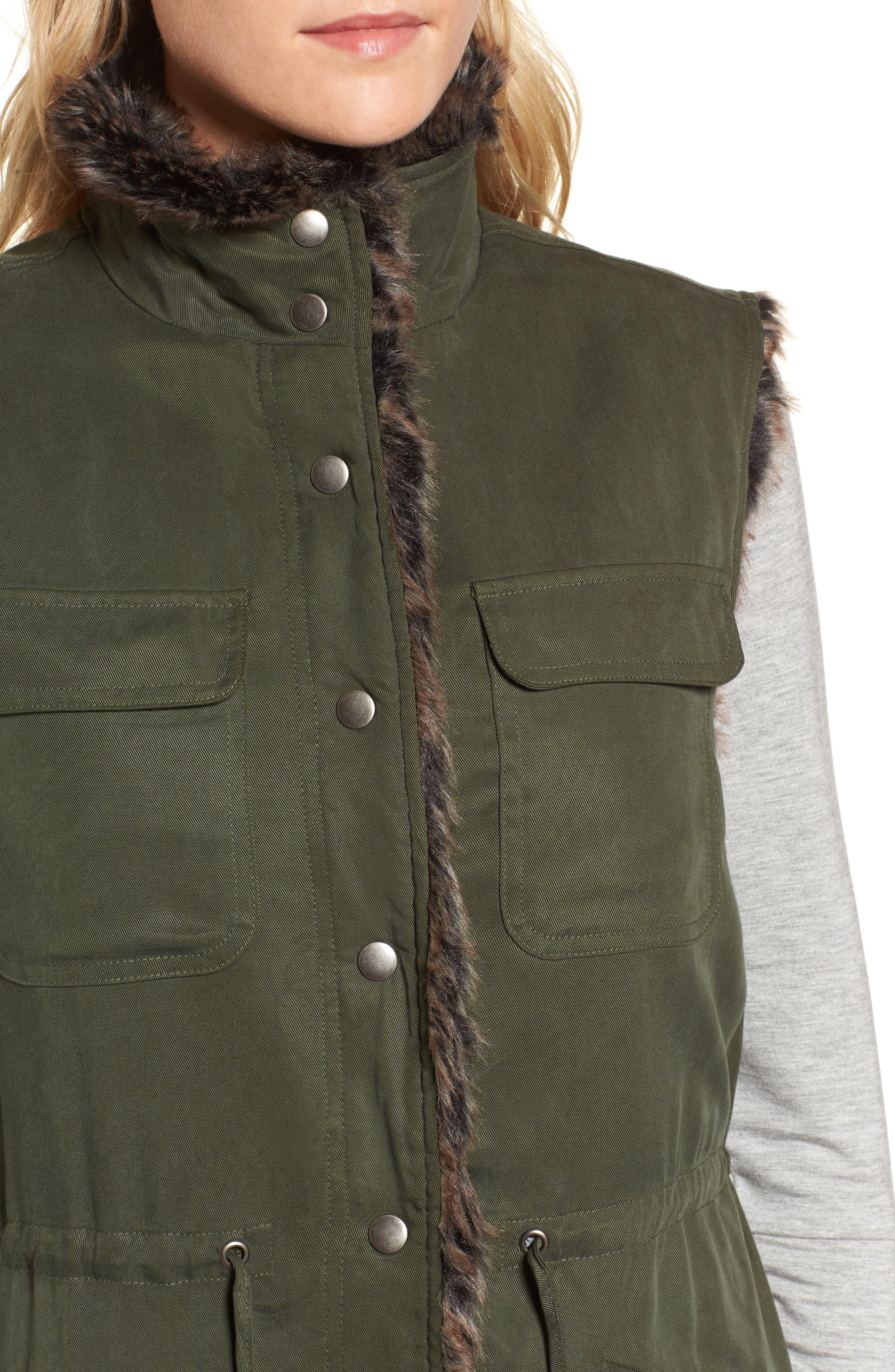 Ashling Faux Fur Lined Utility Vest,                             Alternate thumbnail 4, color,                             Army