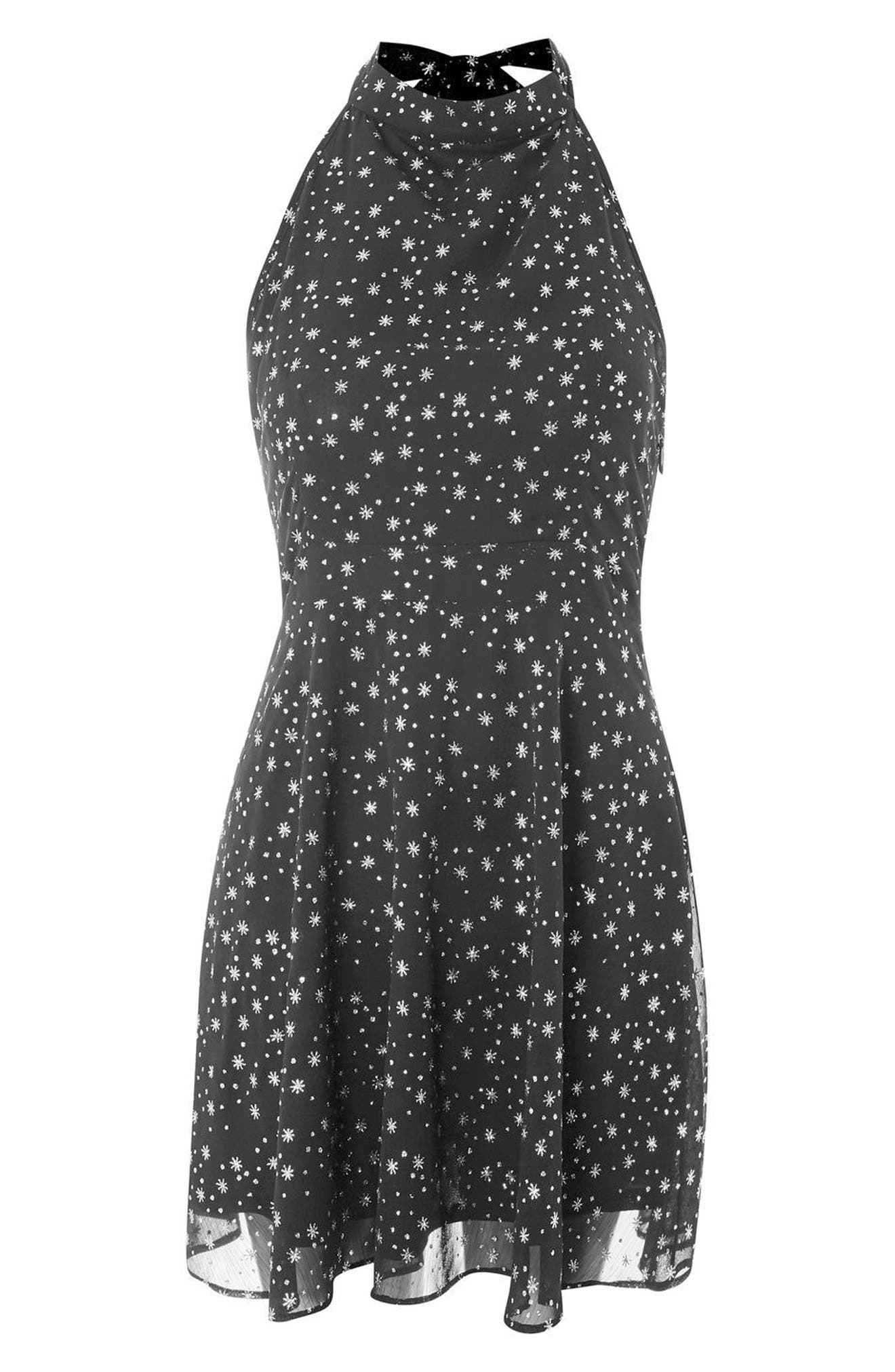 Glitter Halter Neck Skater Dress,                             Alternate thumbnail 3, color,                             Black Multi