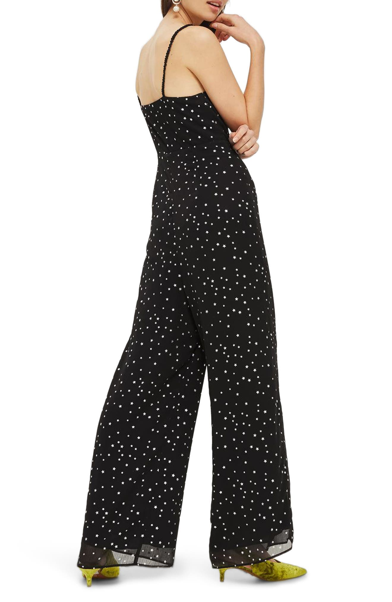 Foil Star Lace-Up Jumpsuit,                             Alternate thumbnail 2, color,                             Black Multi