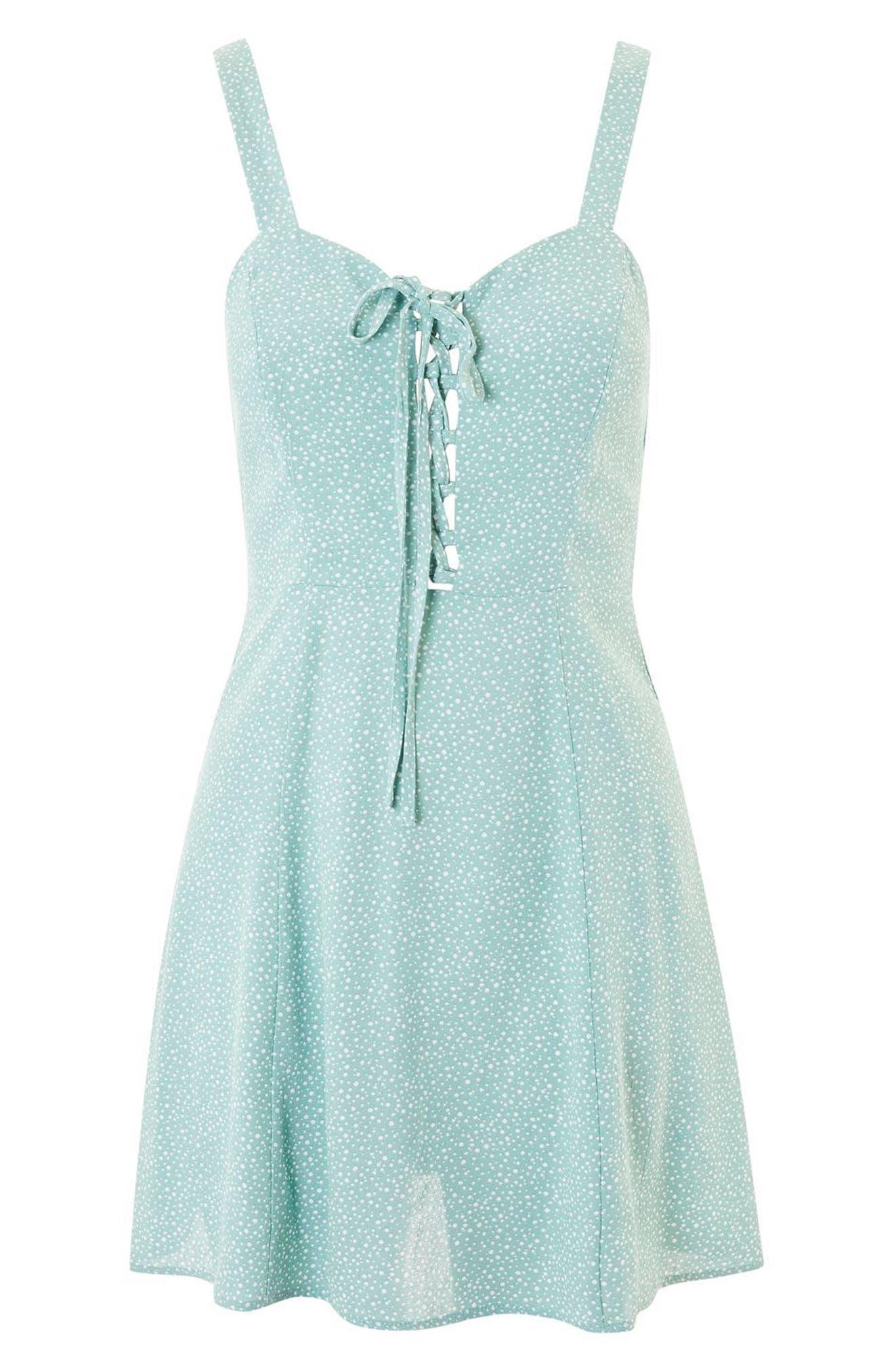 Alternate Image 3  - Topshop Polka Dot Lace-Up Minidress
