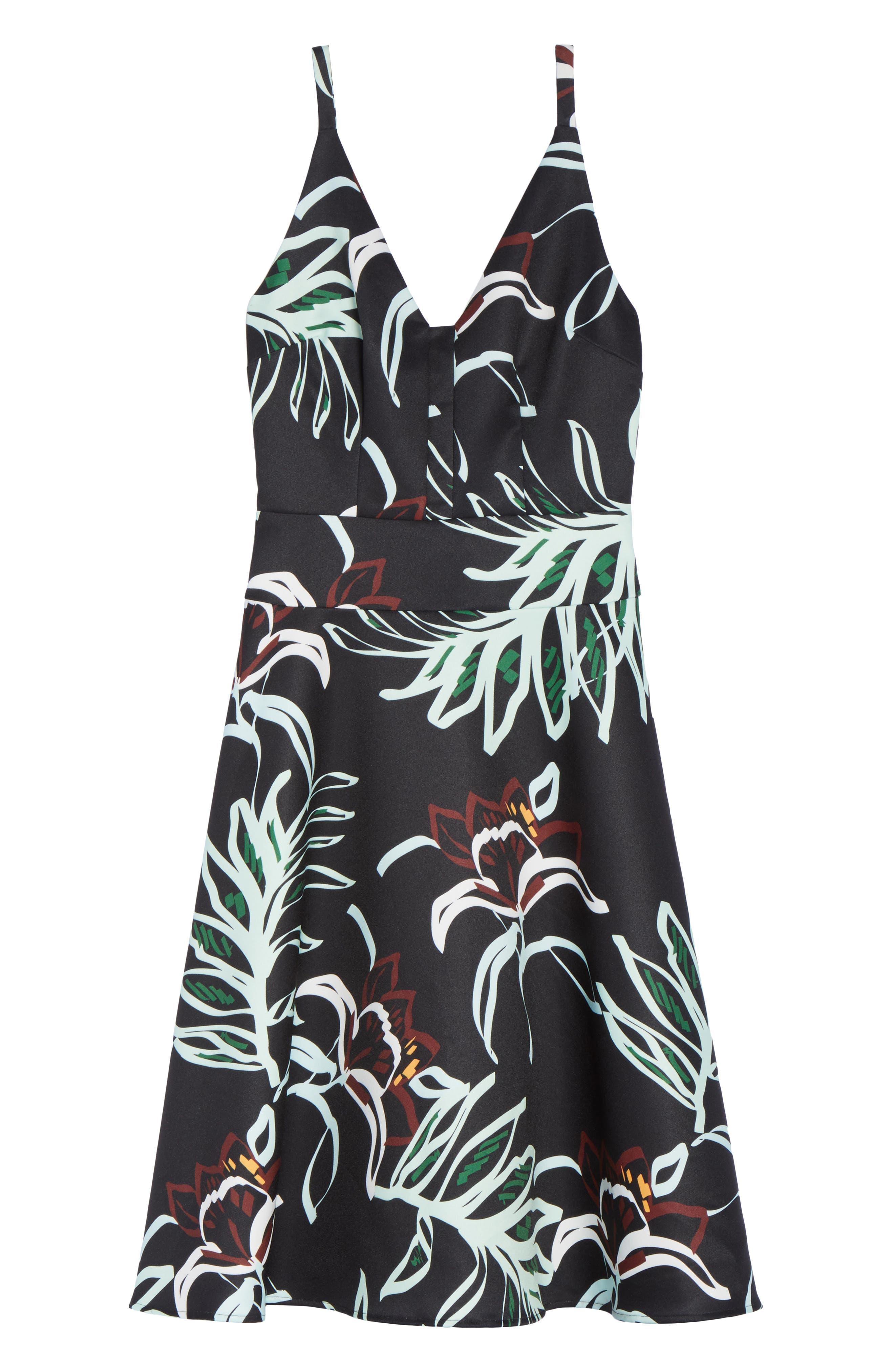 Rainforest Fit & Flare Dress,                             Alternate thumbnail 6, color,                             Print