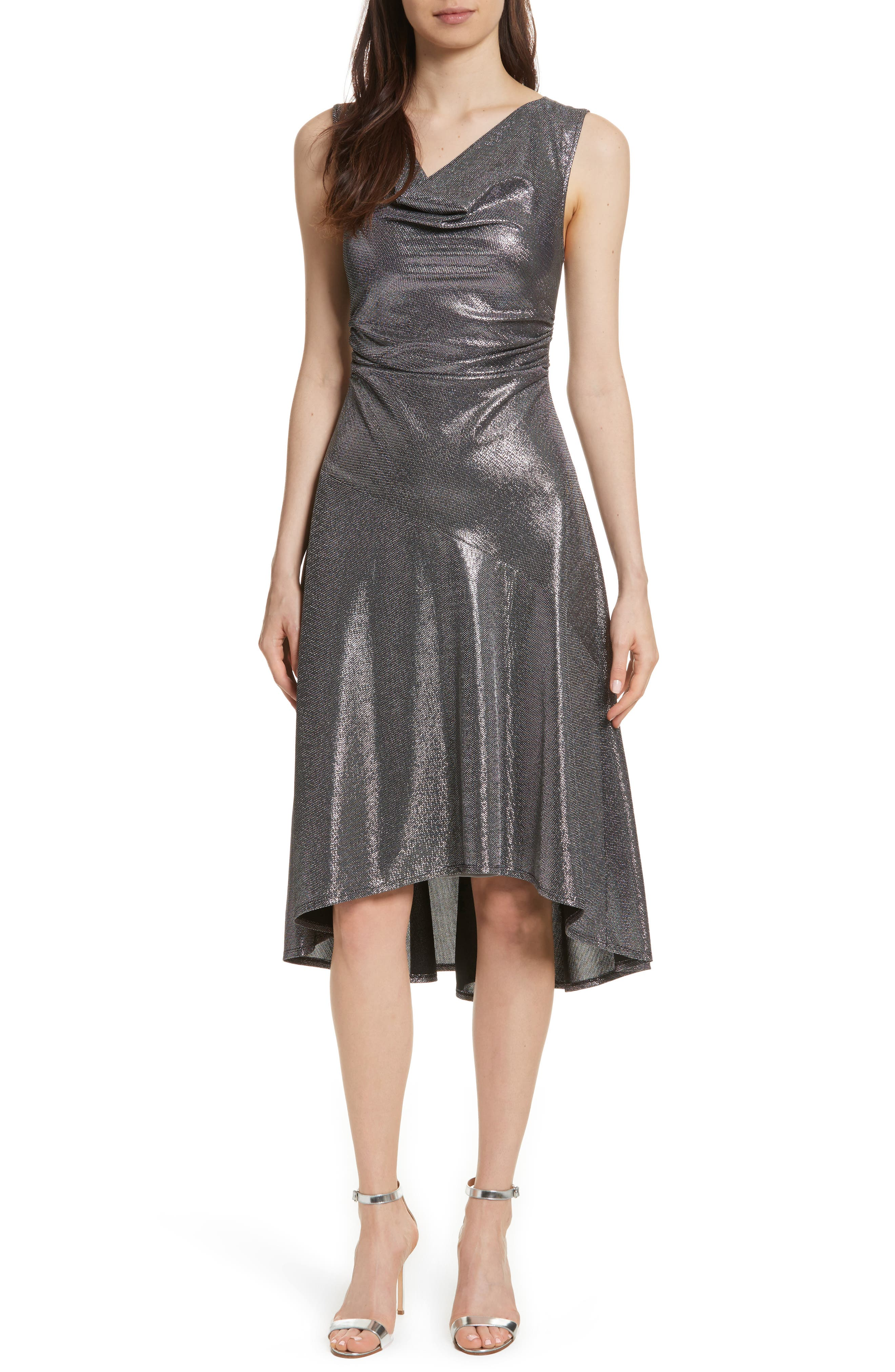 Draped High/Low Dress,                         Main,                         color, Antique Silver