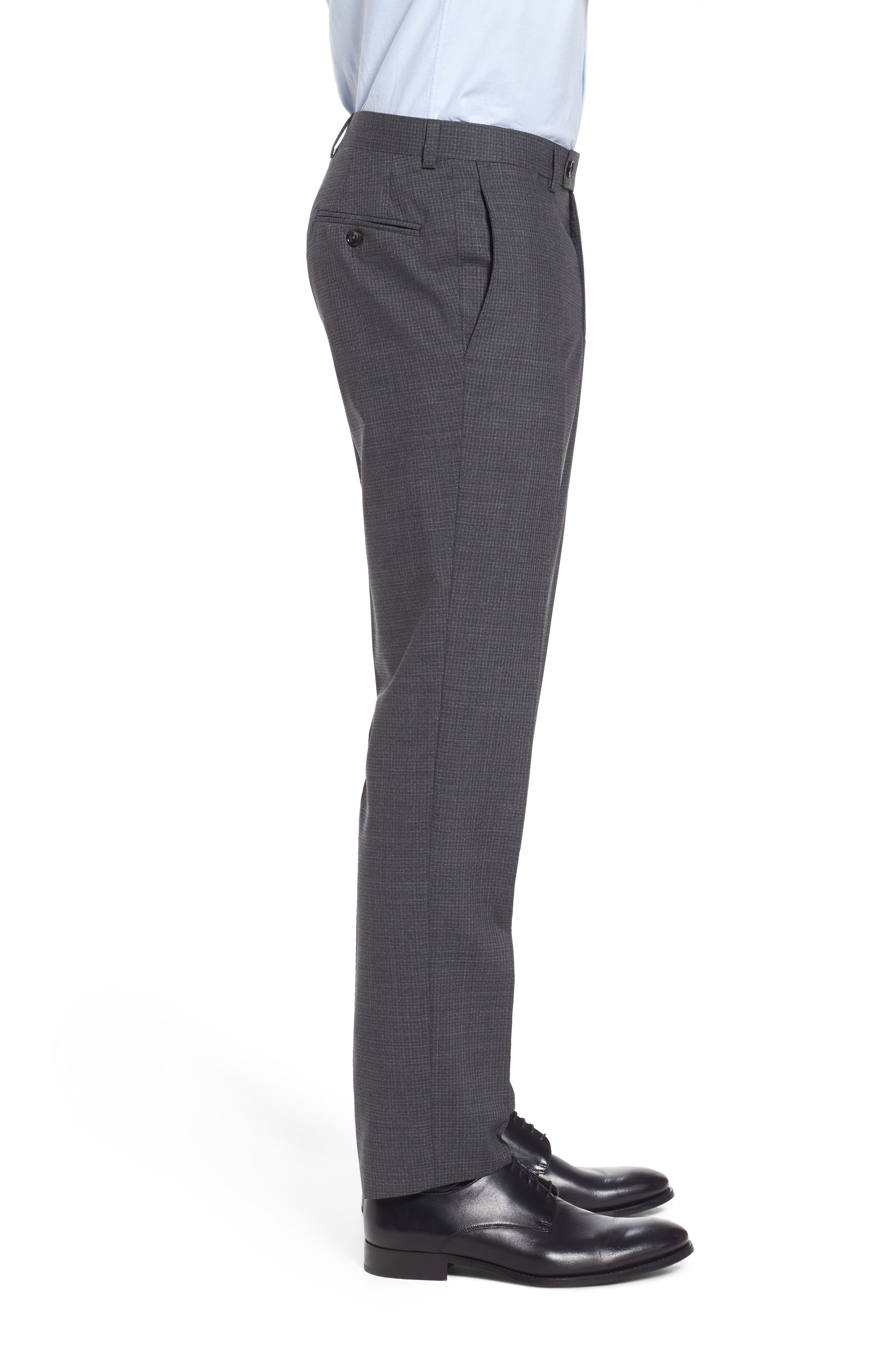 Flat Front Check Wool Trousers,                             Alternate thumbnail 3, color,                             Grey
