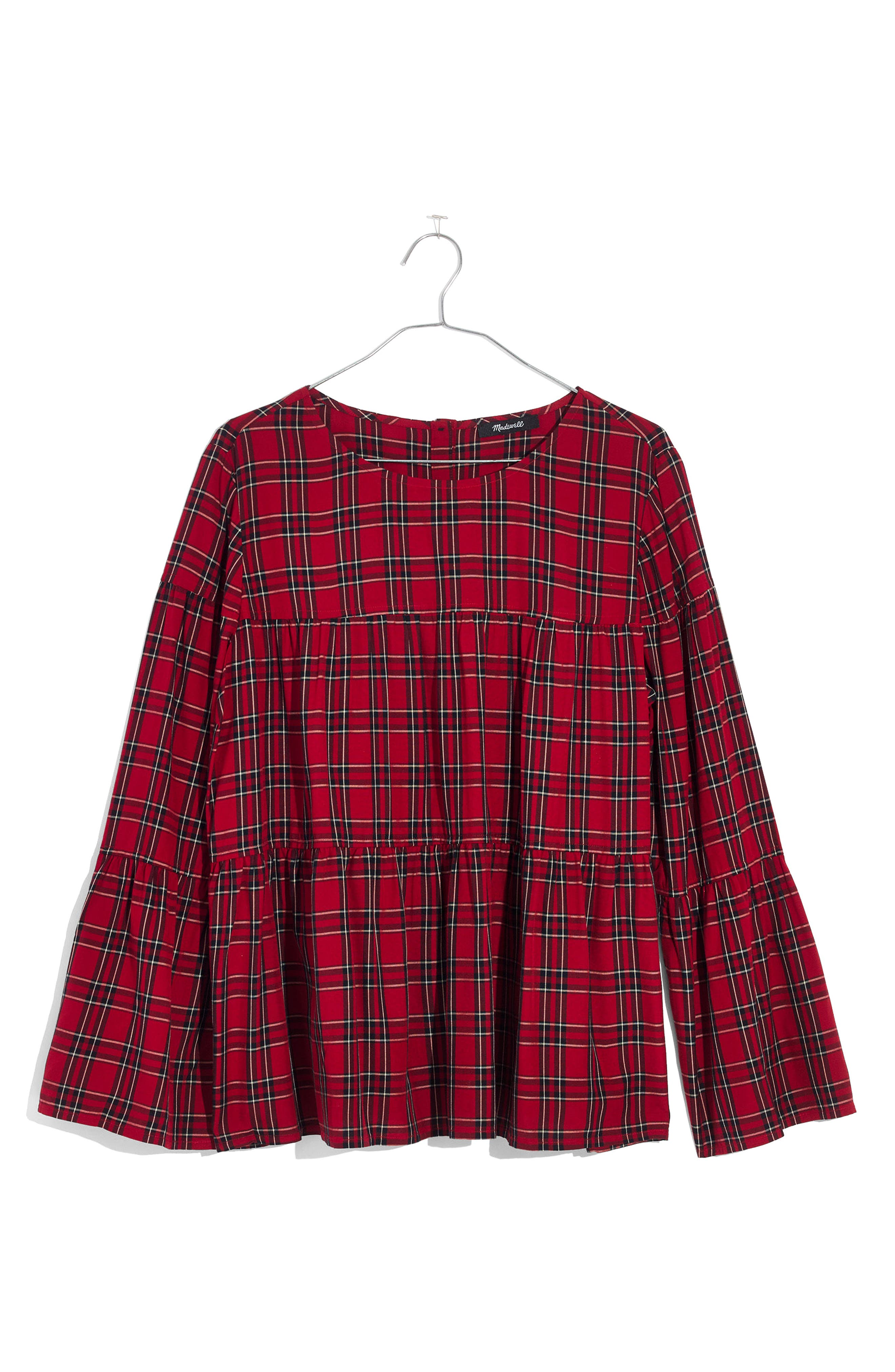 Plaid Tiered Button Back Top,                             Alternate thumbnail 4, color,                             True Red