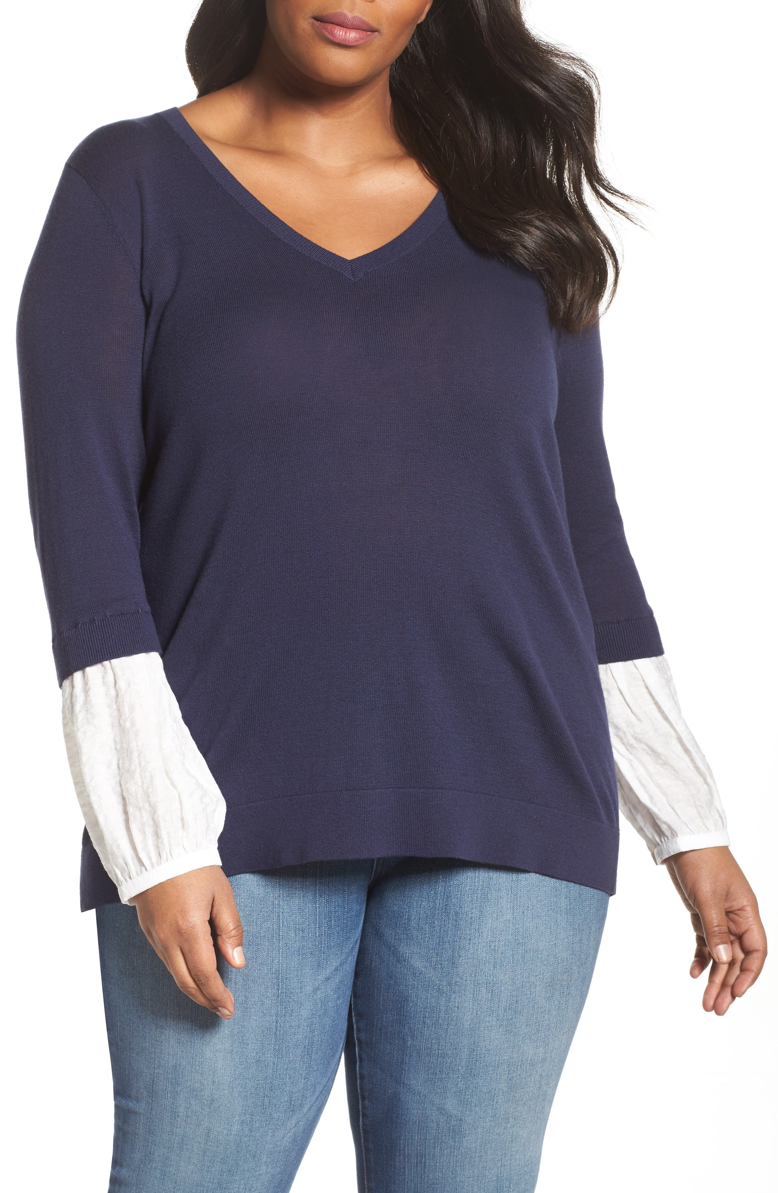 Alternate Image 1 Selected - Sejour Mix Media Sweater (Plus Size)