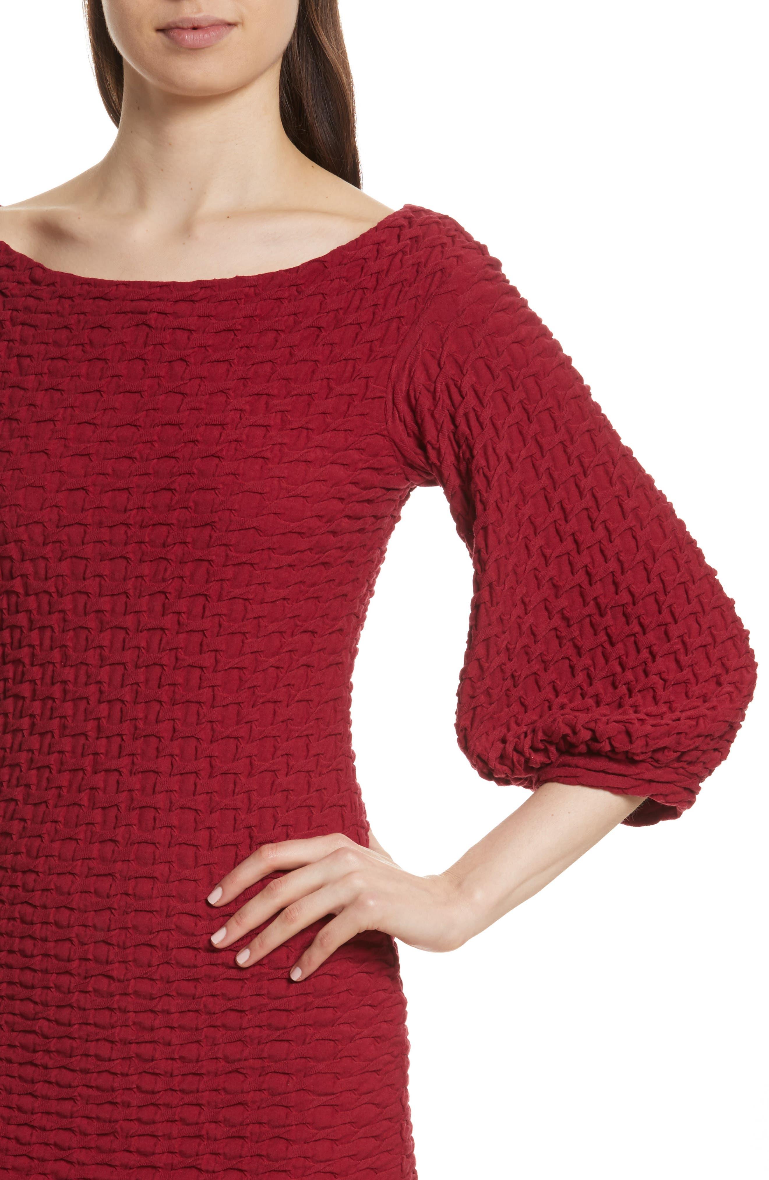 Basket Weave Balloon Sleeve Dress,                             Alternate thumbnail 4, color,                             Tibetan Red