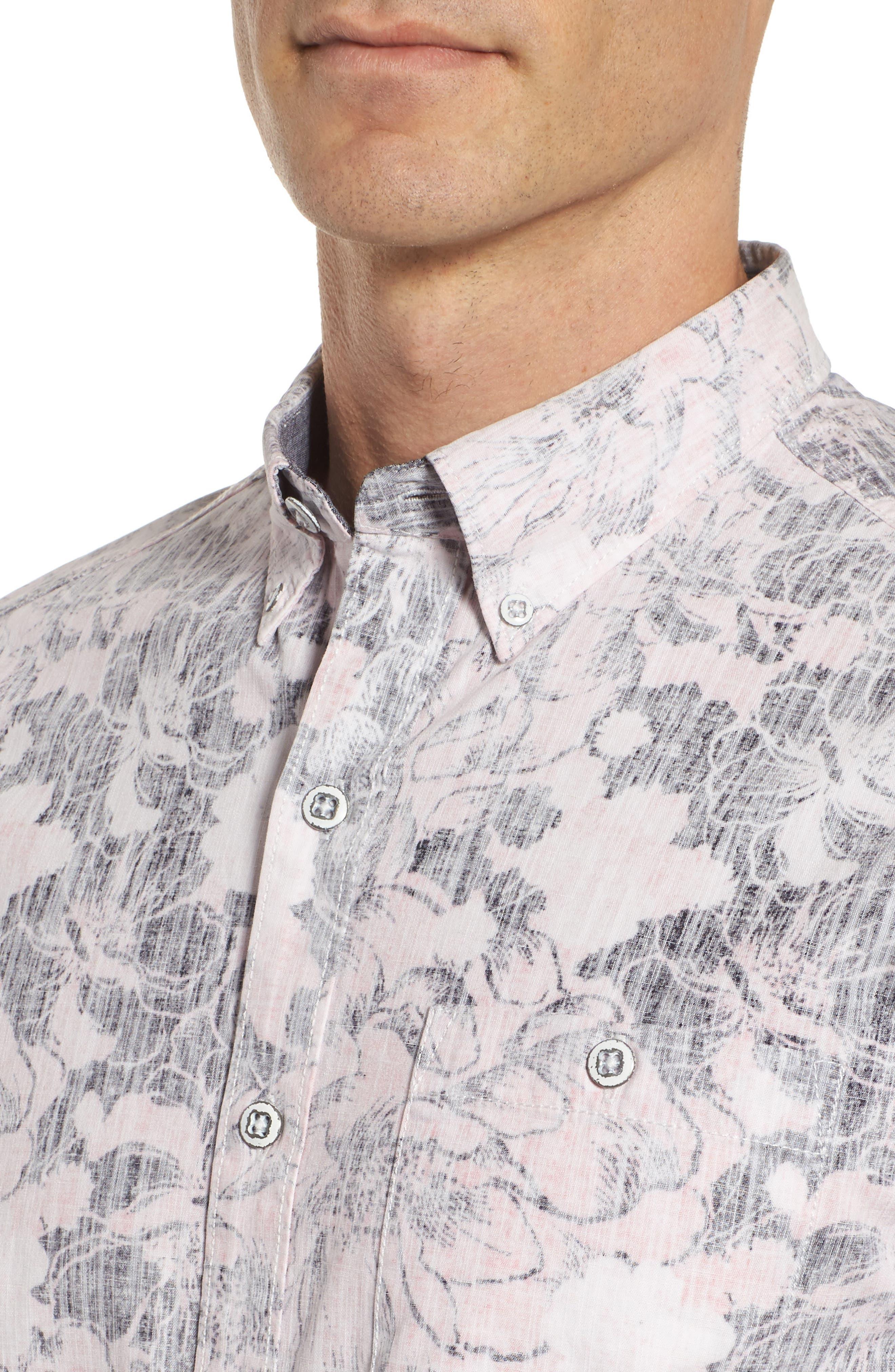 Seaspray Floral Sport Shirt,                             Alternate thumbnail 4, color,                             Soft Flamingo