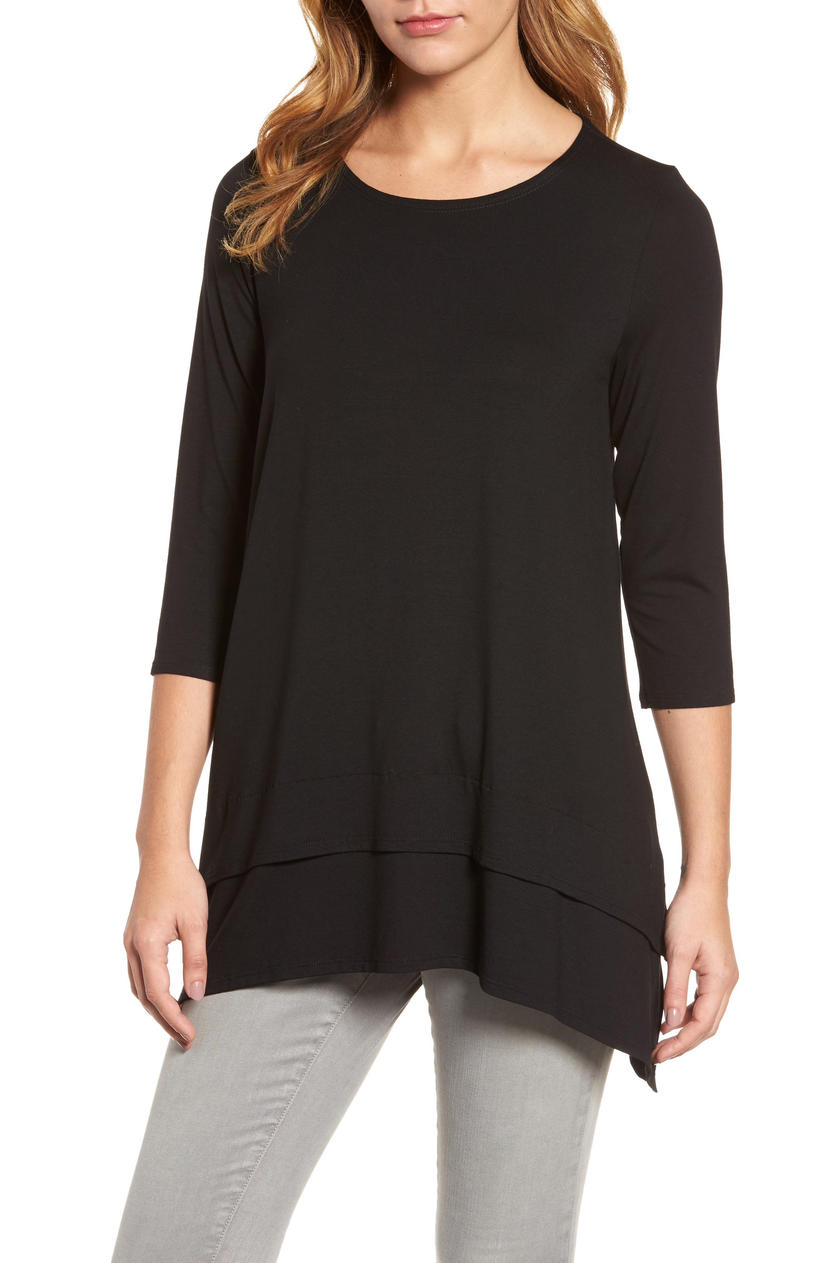 Tiered Handkerchief Hem Tunic,                         Main,                         color, Black