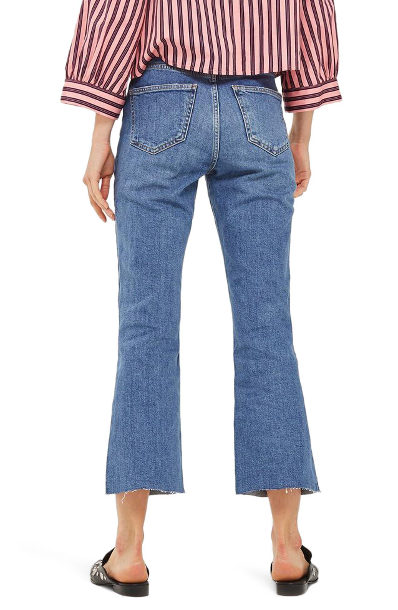 Dree Crop Flare Jeans,                             Alternate thumbnail 2, color,                             Mid Denim