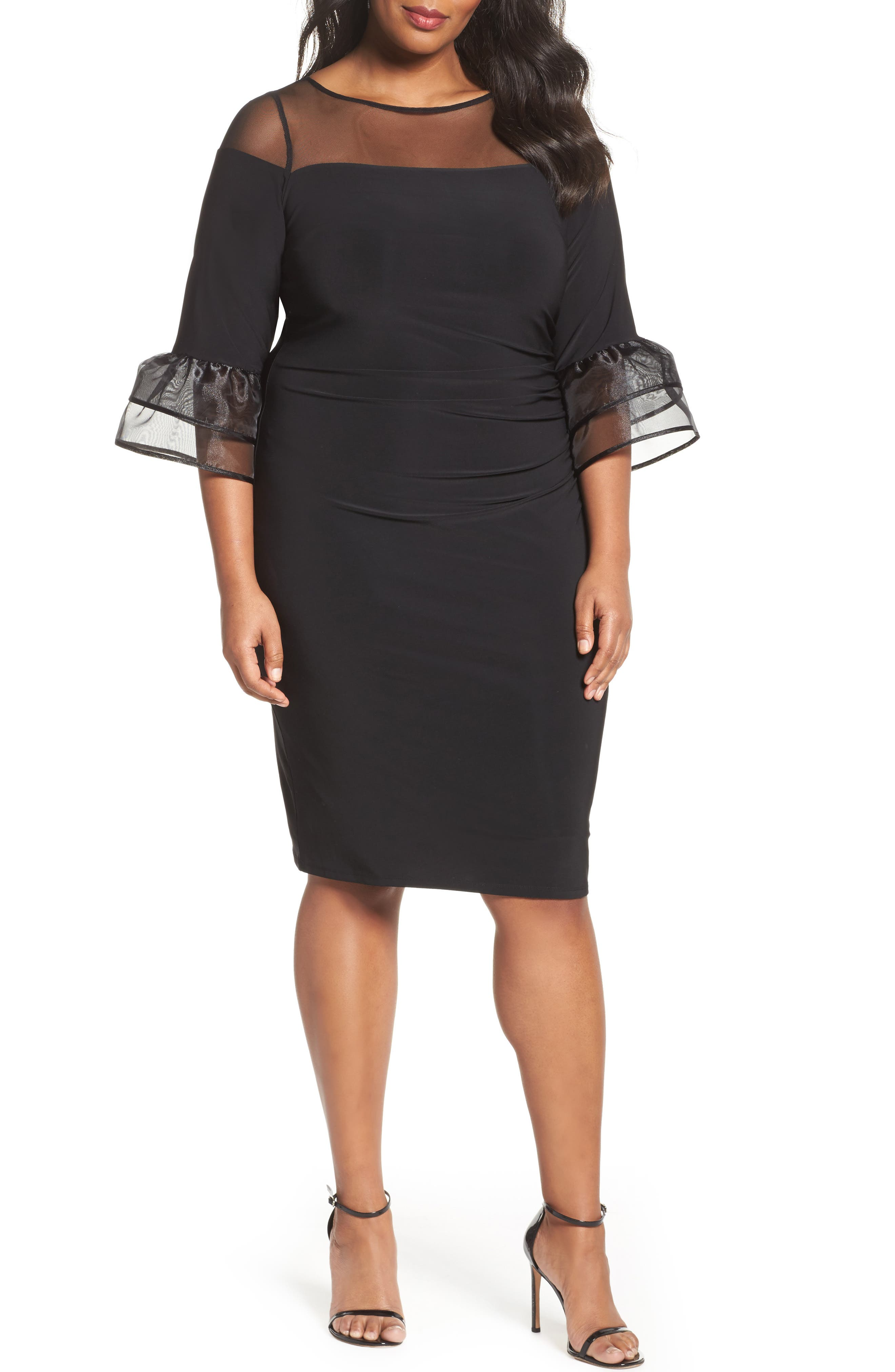 Illusion Yoke Bell Sleeve Sheath Dress,                         Main,                         color, Black