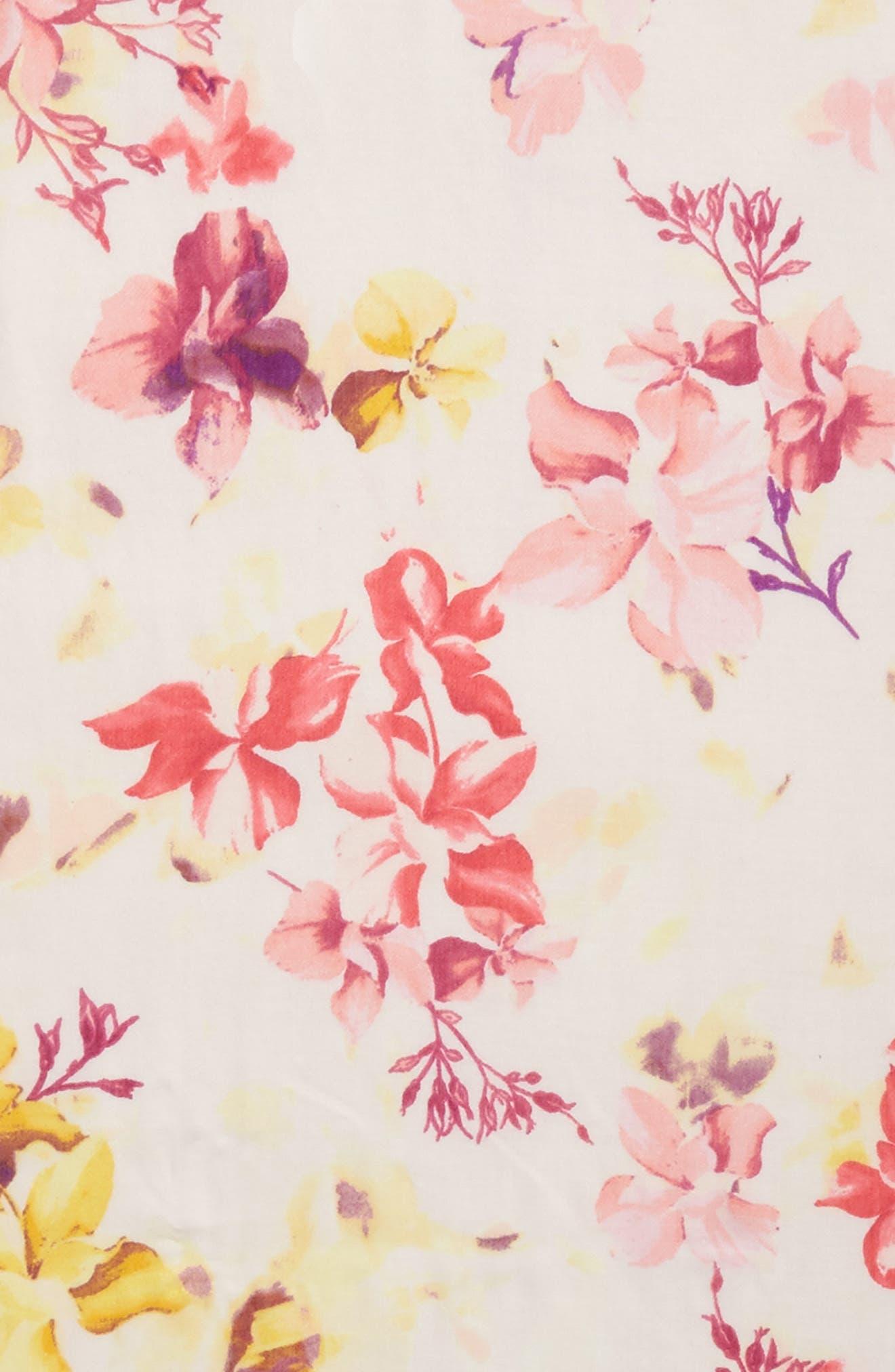 Eyelash Trim Print Cashmere & Silk Wrap,                             Alternate thumbnail 4, color,                             Pink Frosted Petals