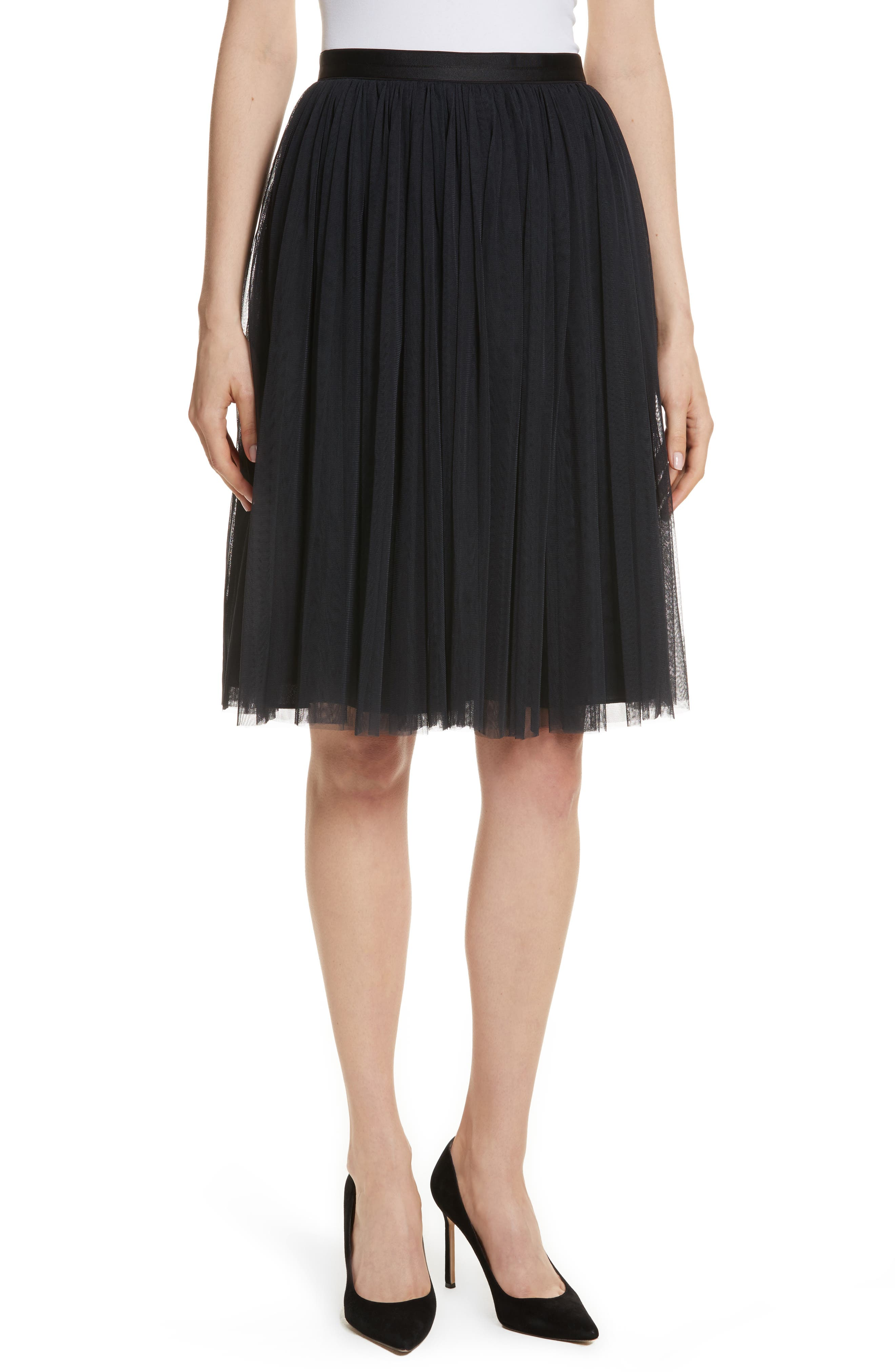 Pleated Tulle Skirt,                             Main thumbnail 1, color,                             Washed Black