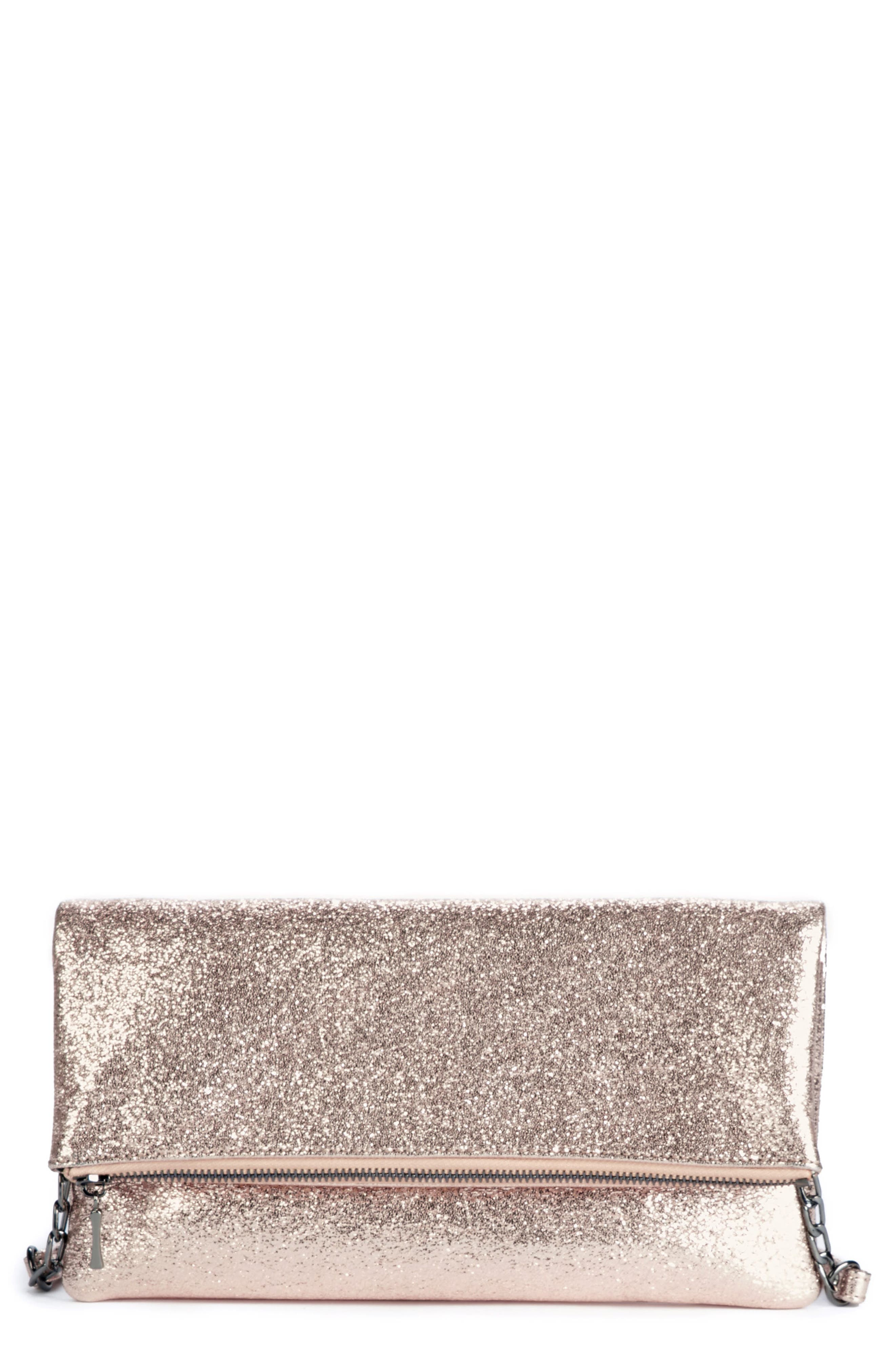 Maci Crinkle Faux Leather Foldover Clutch,                         Main,                         color, Rosegold