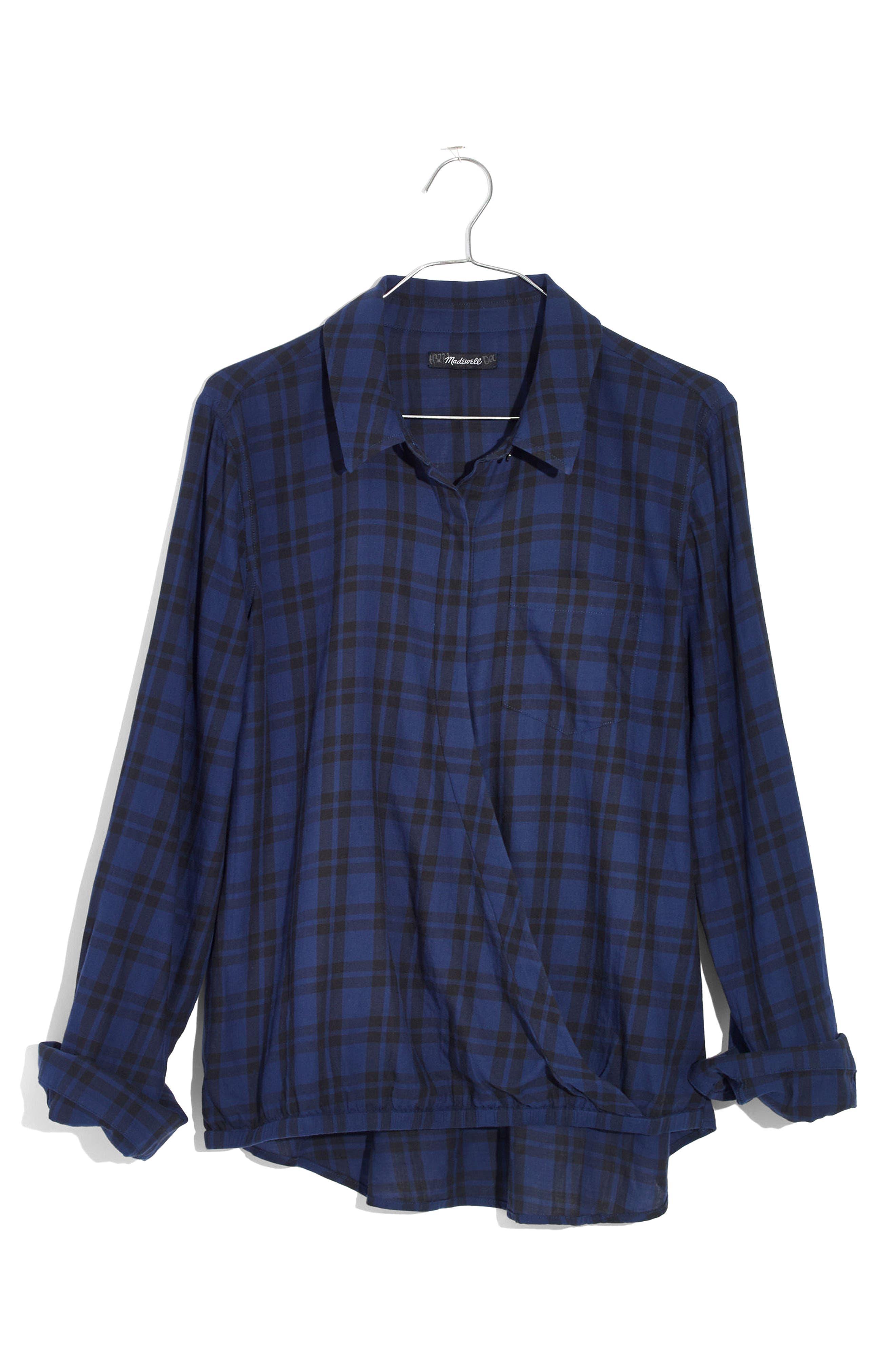 Plaid Faux Wrap Shirt,                             Alternate thumbnail 4, color,                             Dark River