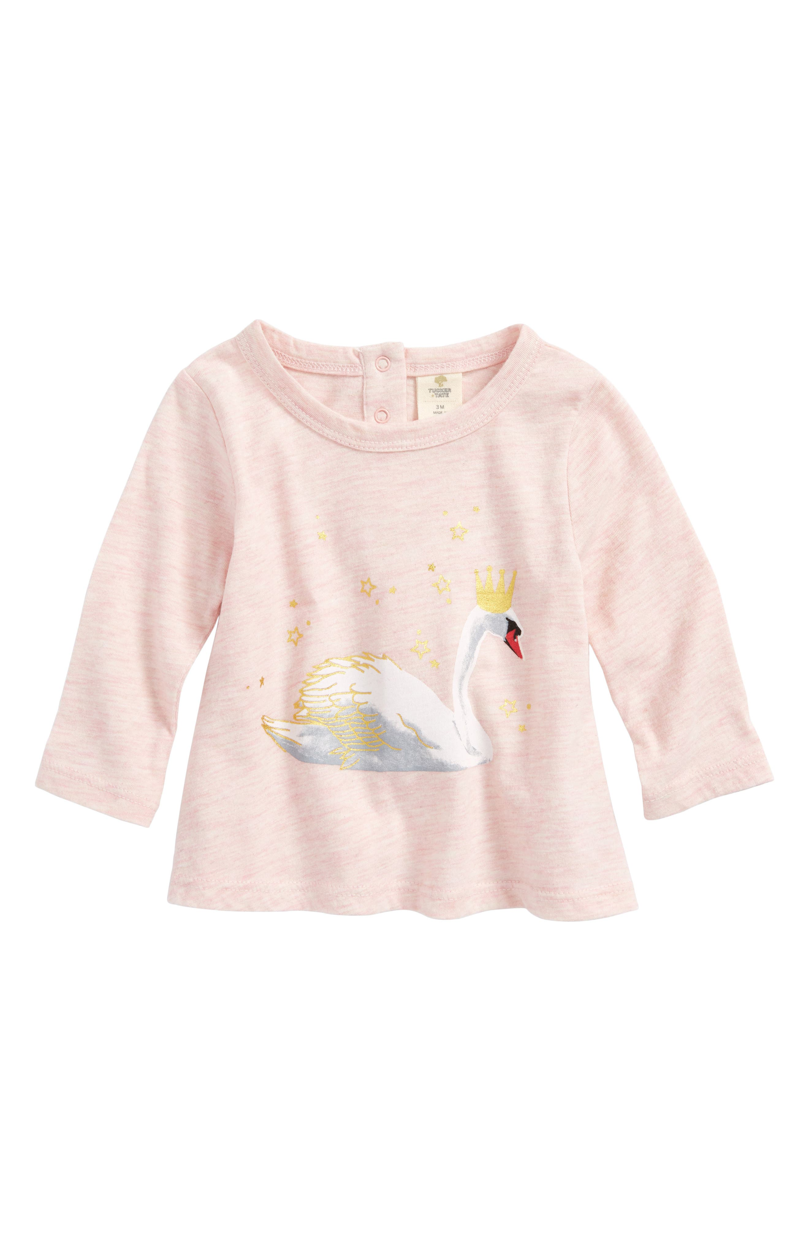 Foil Print Graphic Tee,                         Main,                         color, Pink Silver Htr Pretty Swan