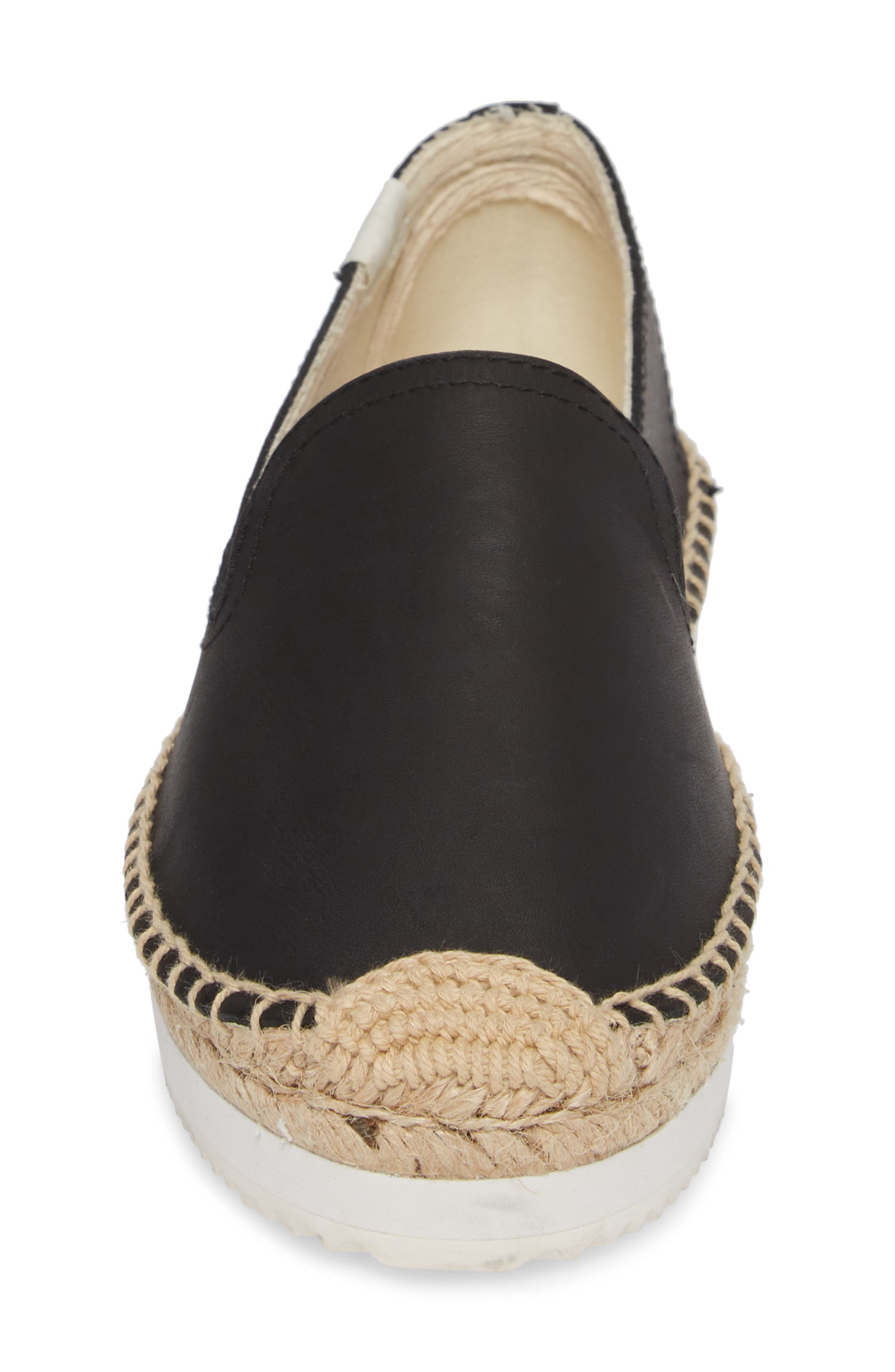 Platform Smoking Slipper,                             Alternate thumbnail 4, color,                             Black Leather