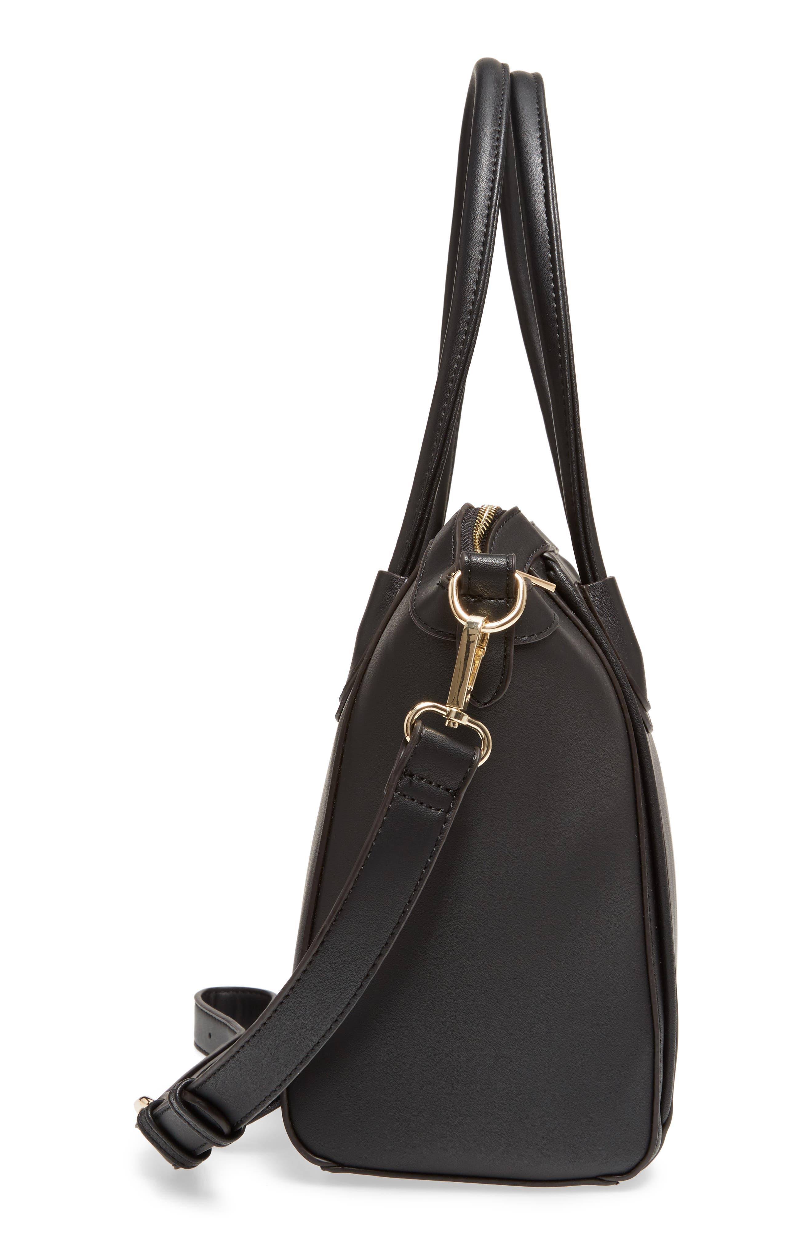 Amada Faux Leather Satchel,                             Alternate thumbnail 4, color,                             Black