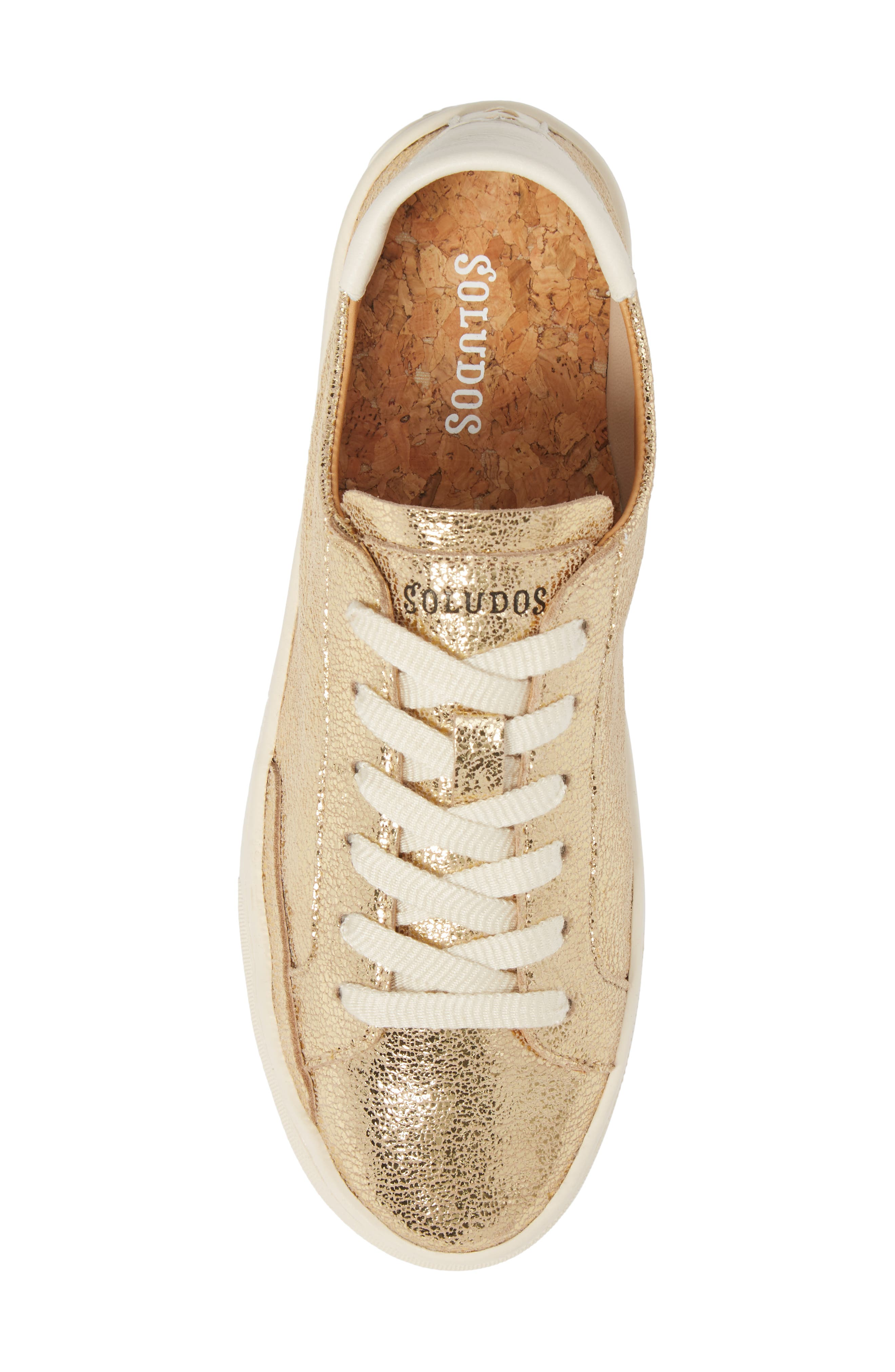 Ibiza Metallic Lace-Up Sneaker,                             Alternate thumbnail 5, color,                             Pale Gold Leather