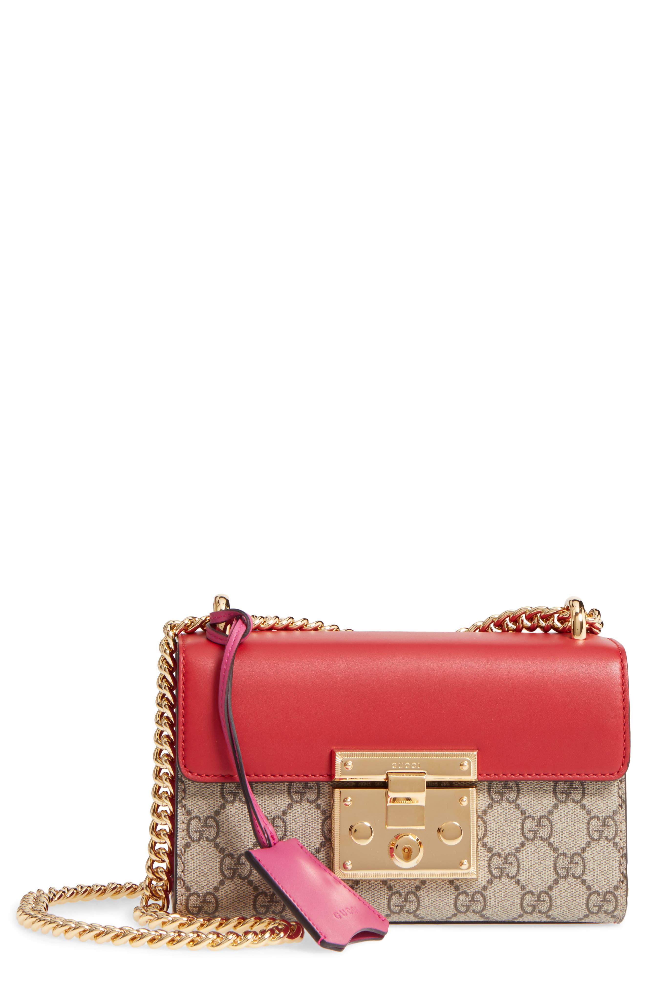 Small Padlock Shoulder Bag,                             Main thumbnail 1, color,                             Beige/ Hibiscus/ Roset