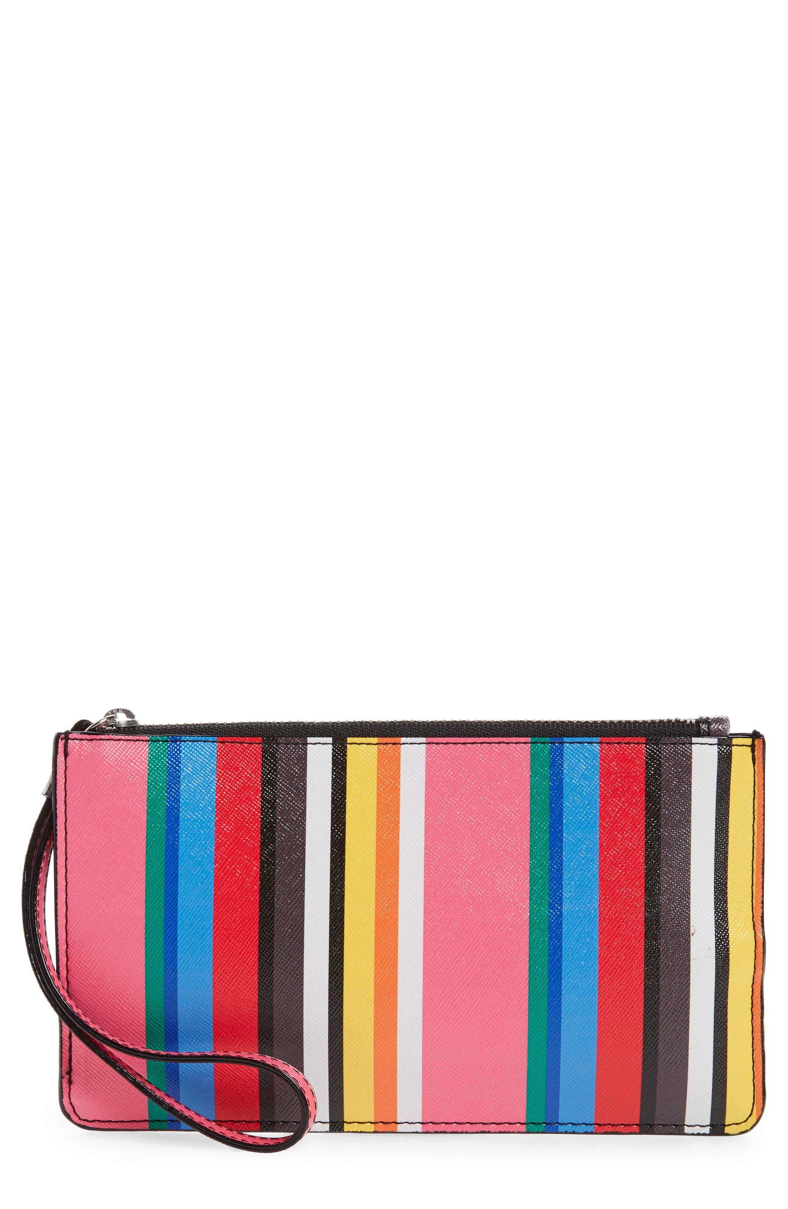 Nordstrom Stripe Faux Leather Wristlet
