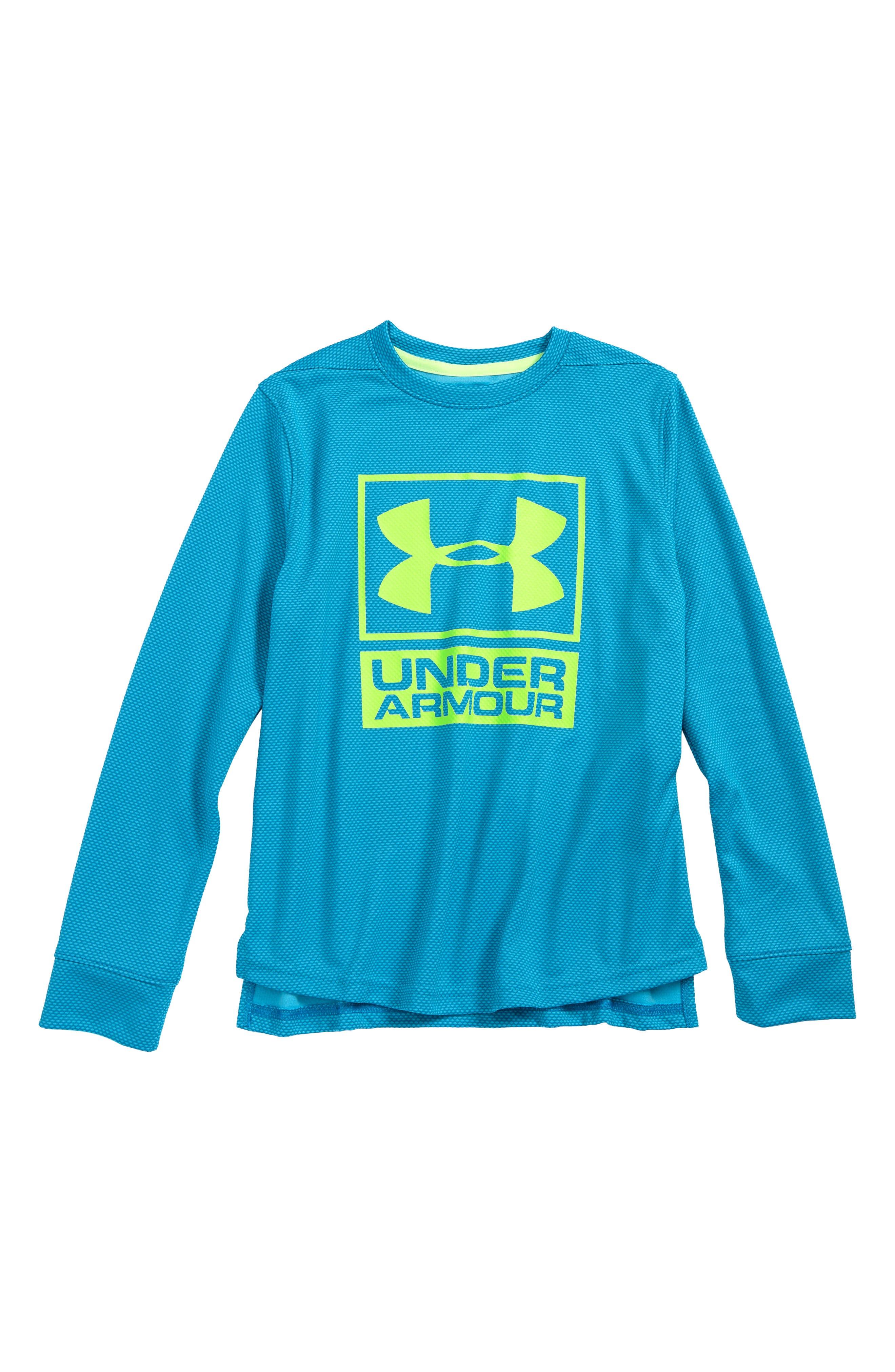 Logo Tech Shirt,                         Main,                         color, Cruise Blue/ Quirky Lime