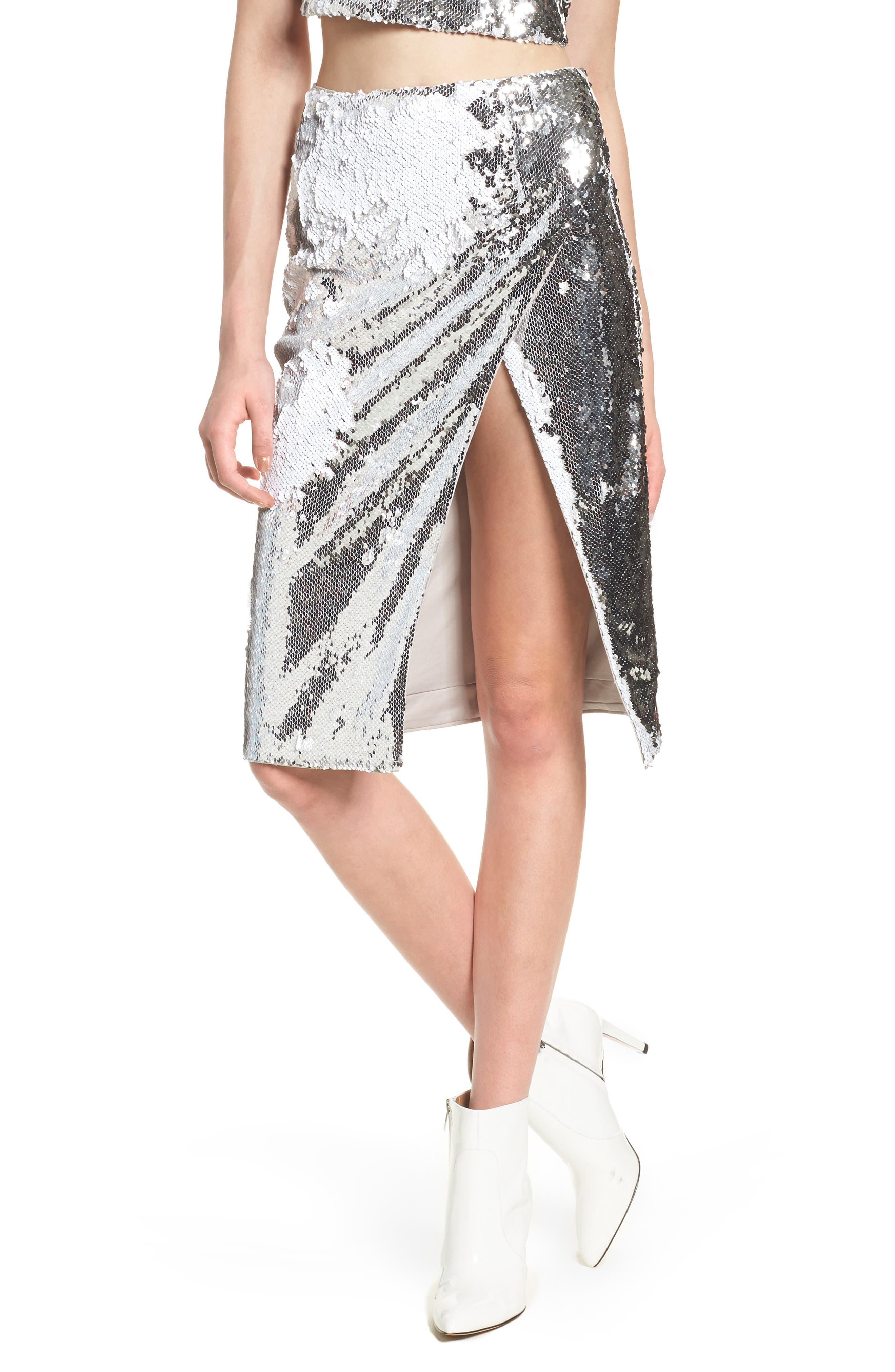 Liana Sequin Skirt,                         Main,                         color, Silver