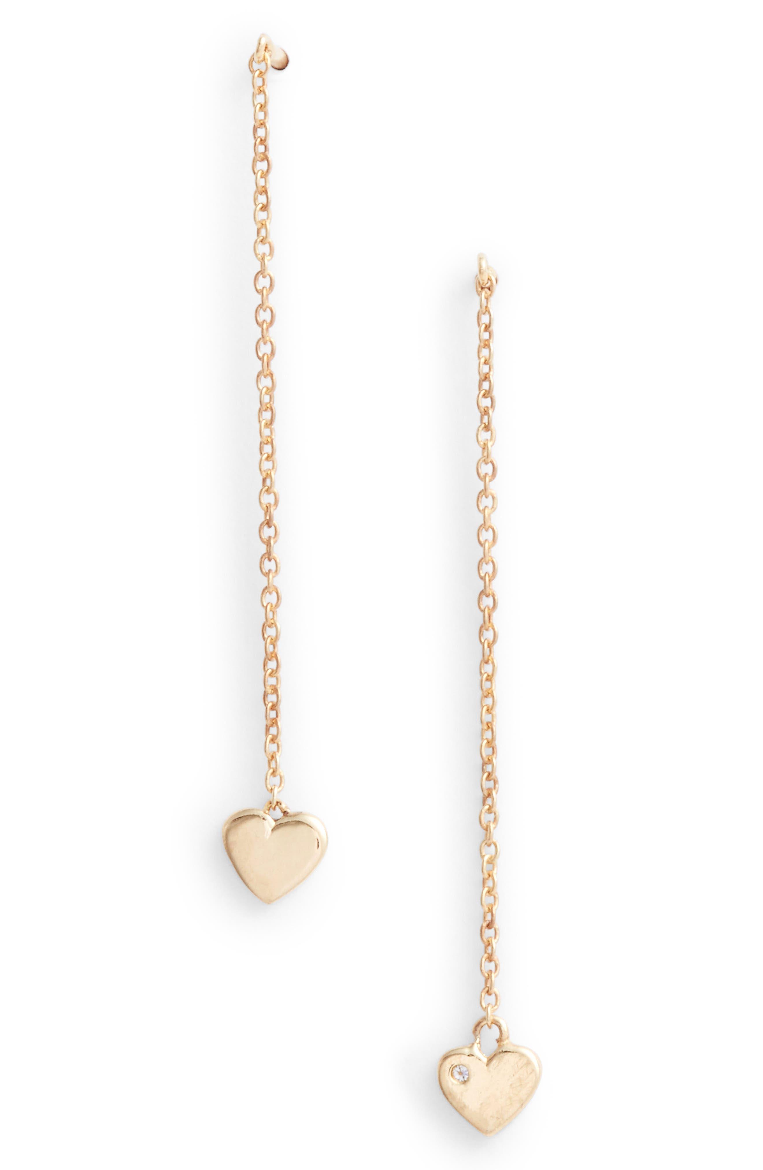 Heart Threader Earrings,                         Main,                         color, Gold