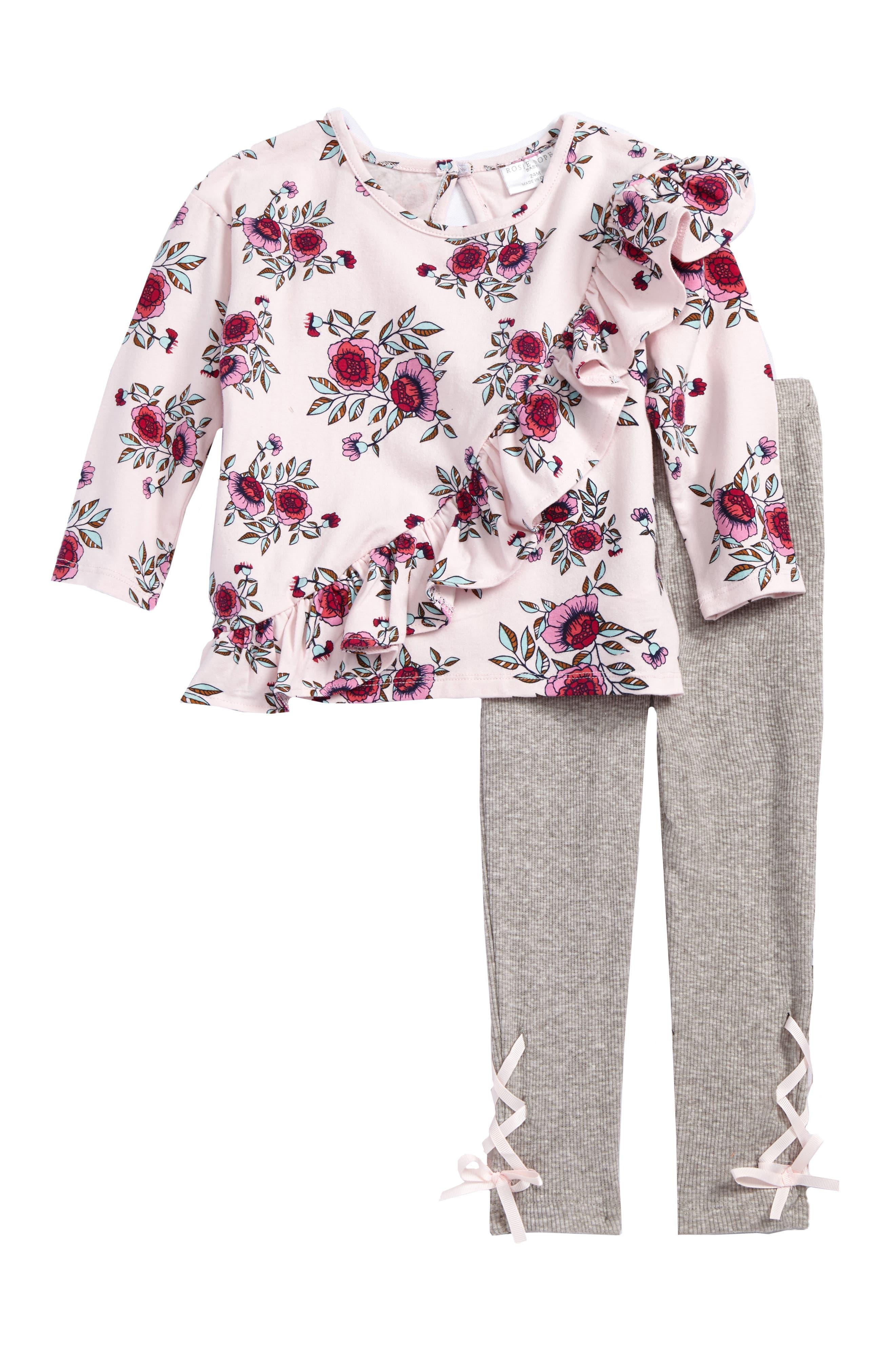 Rosie Pope Floral Print Ruffle Tee & Rib Knit Leggings Set (Baby Girls)