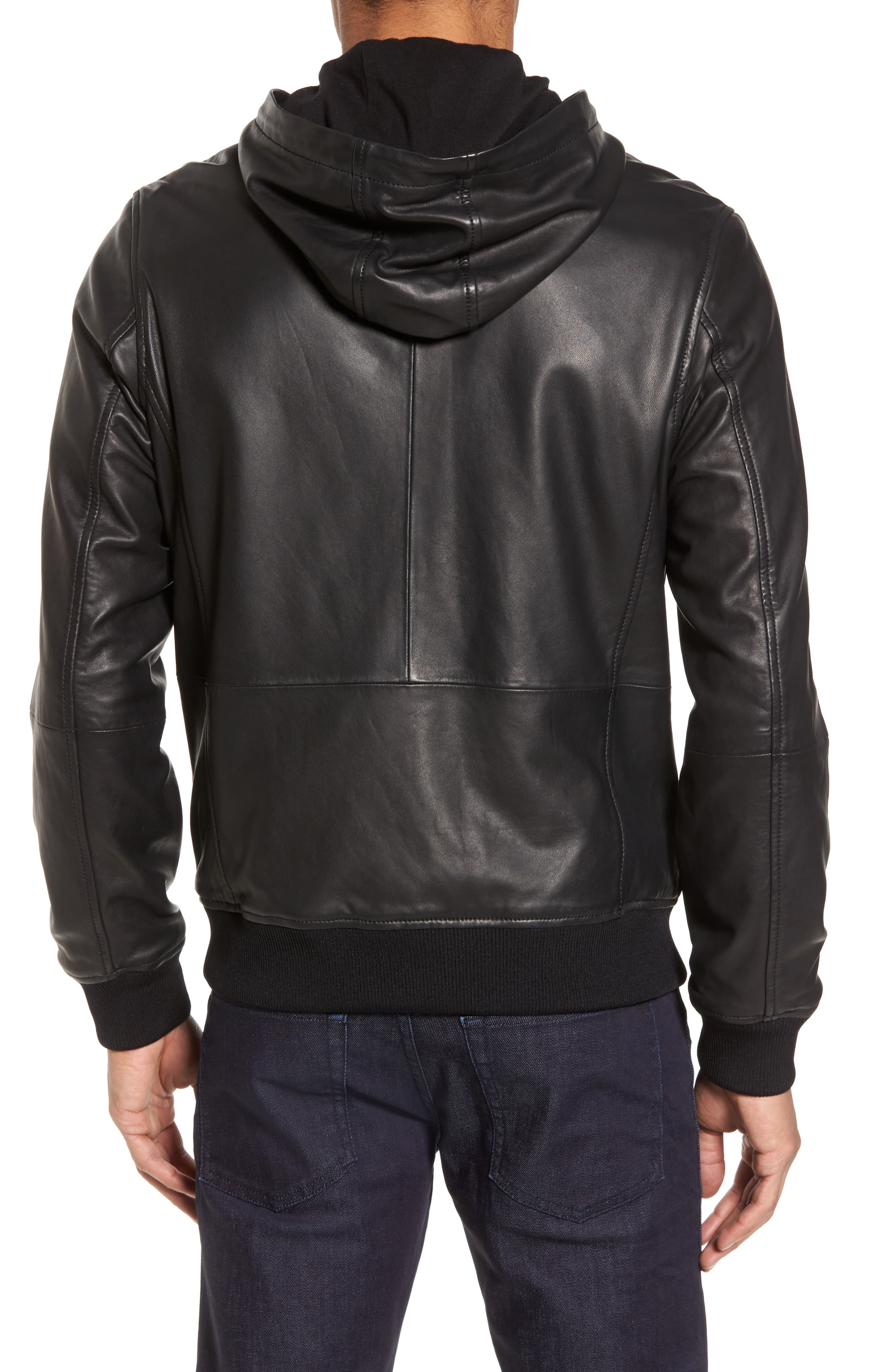 Hooded Leather Jacket,                             Alternate thumbnail 2, color,                             Black