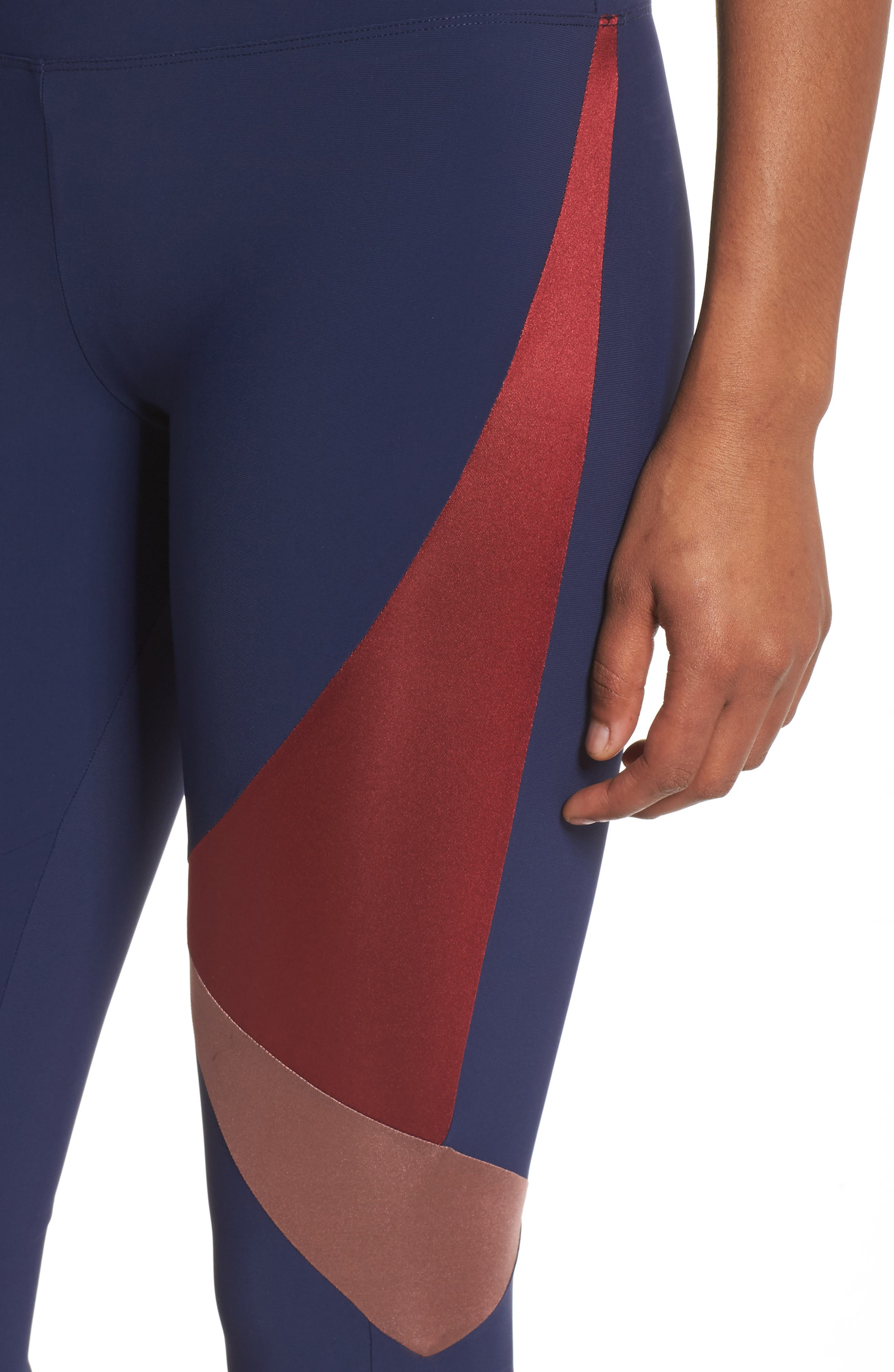BoomBoom Athletica Compression Leggings,                             Alternate thumbnail 4, color,                             Navy/Oxblood/Rose Gold