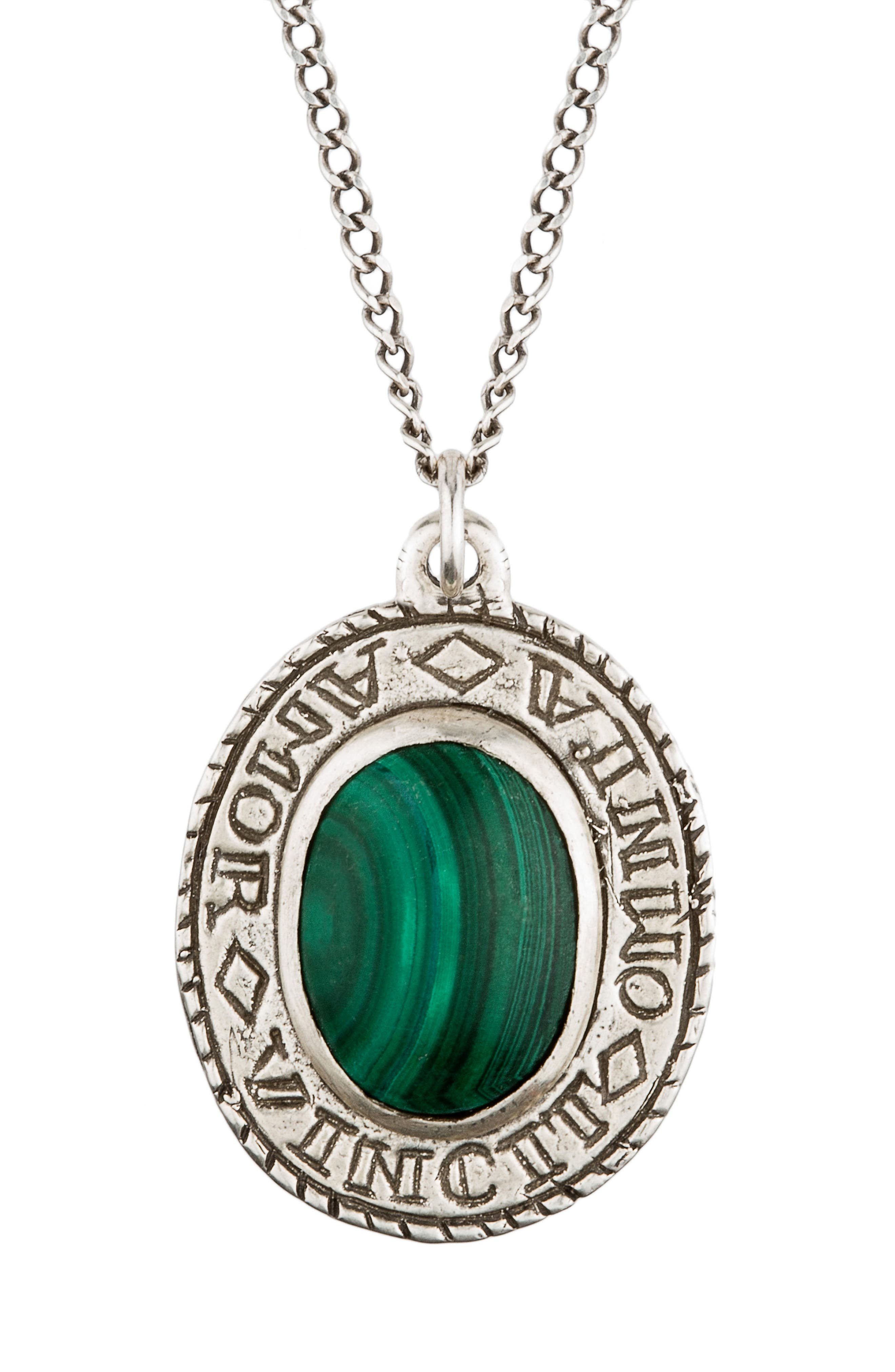 Amor Sterling Silver Pendant Necklace,                         Main,                         color, Green