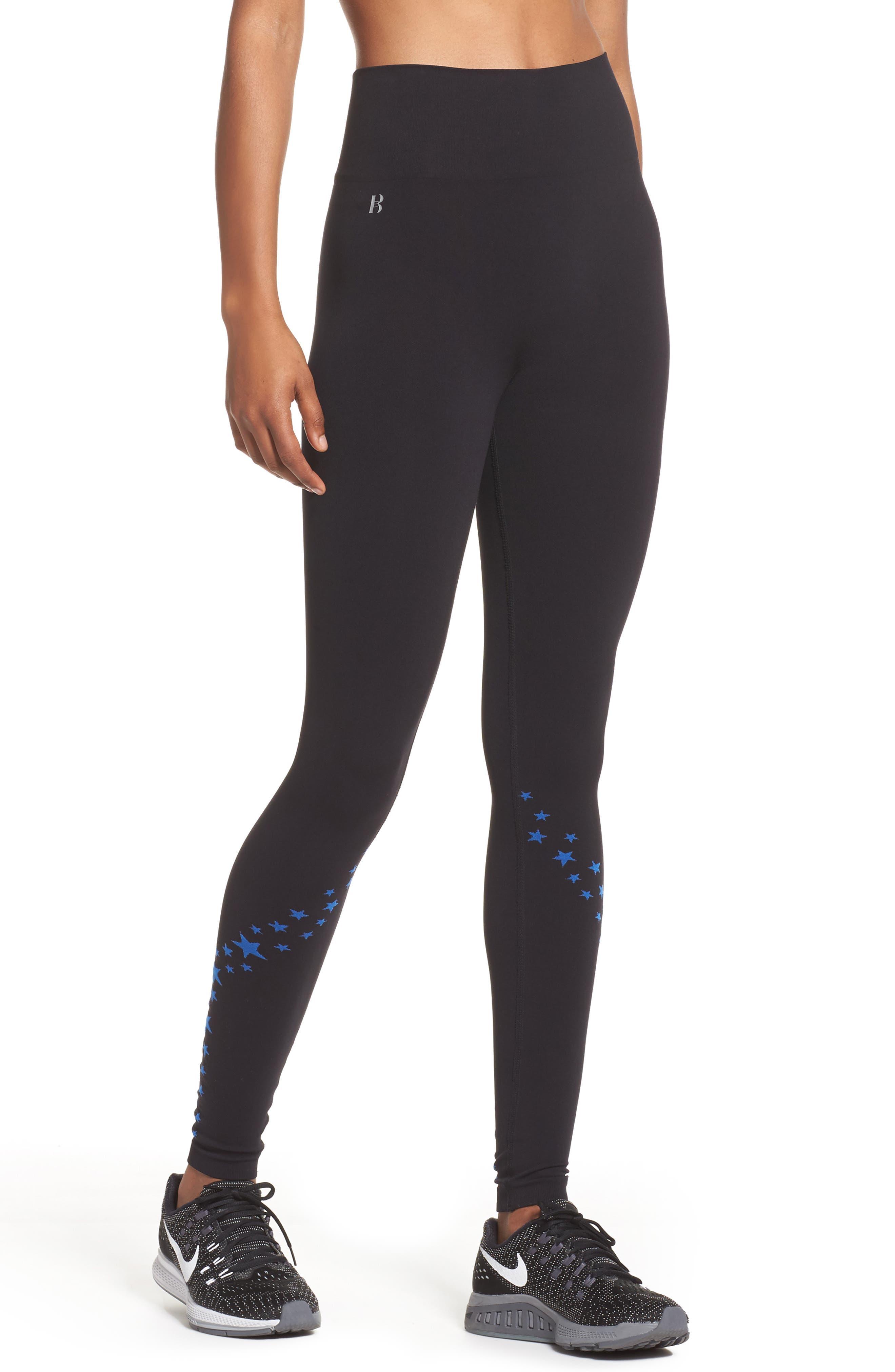 BoomBoom Athletica Seamless Star Leggings,                         Main,                         color, Black/Cobalt