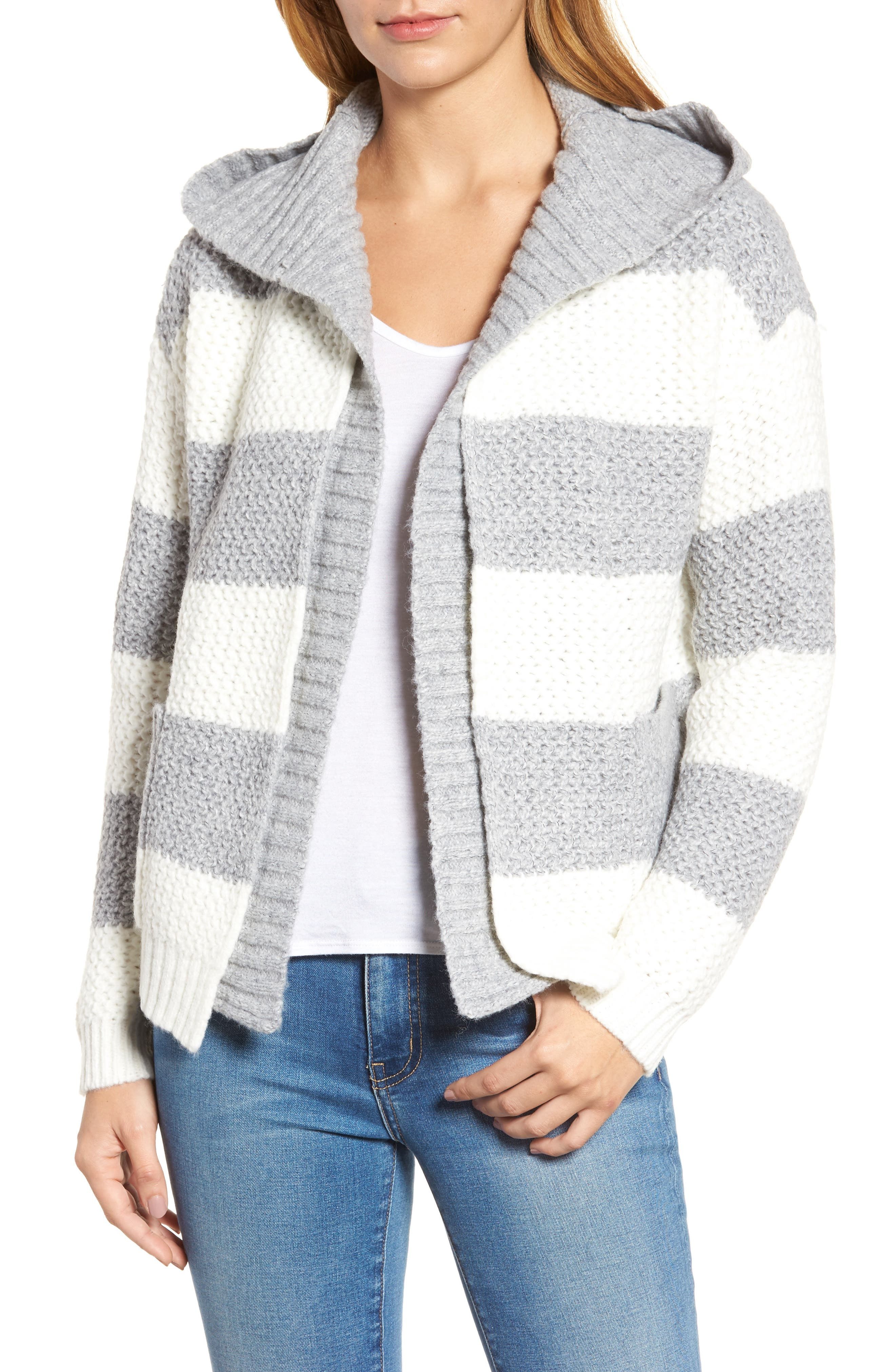 Inner Layer Stripe Cardigan,                         Main,                         color, Fog Mix Cream