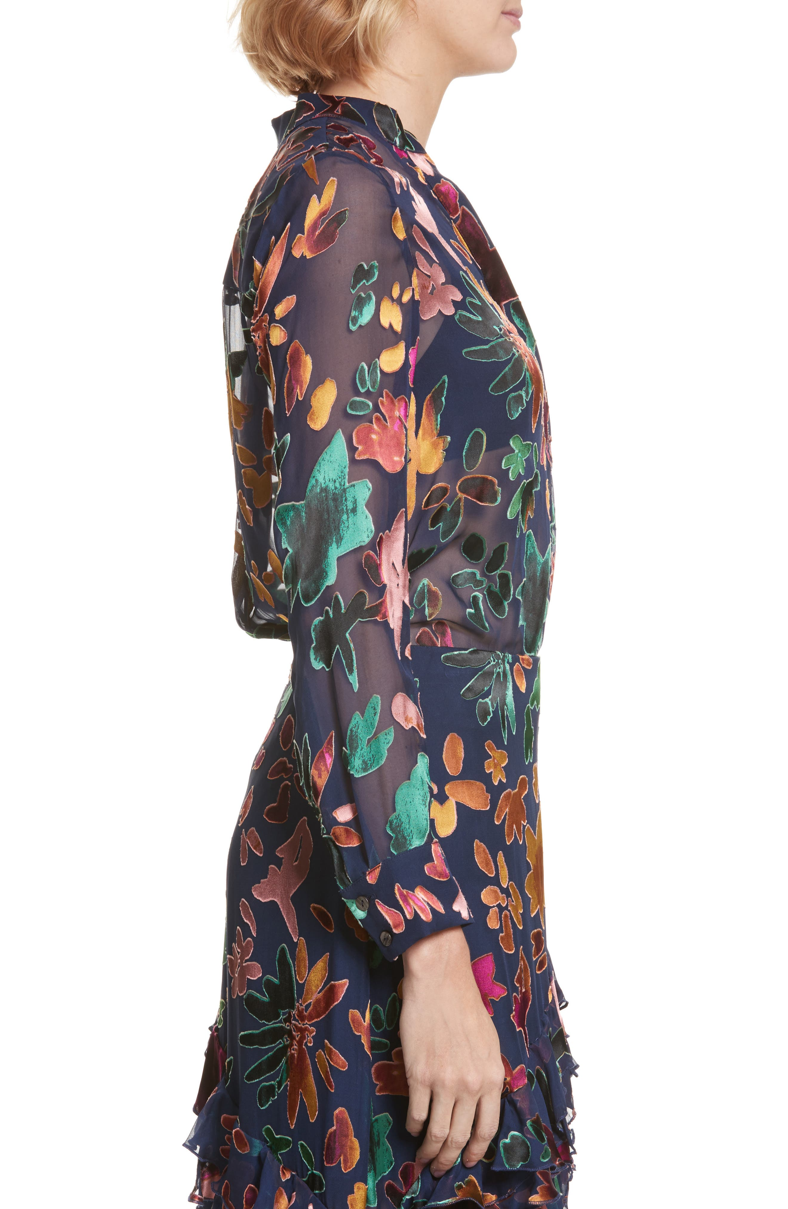 Alternate Image 3  - Alice + Olivia Amos Floral Burnout Velvet Tunic