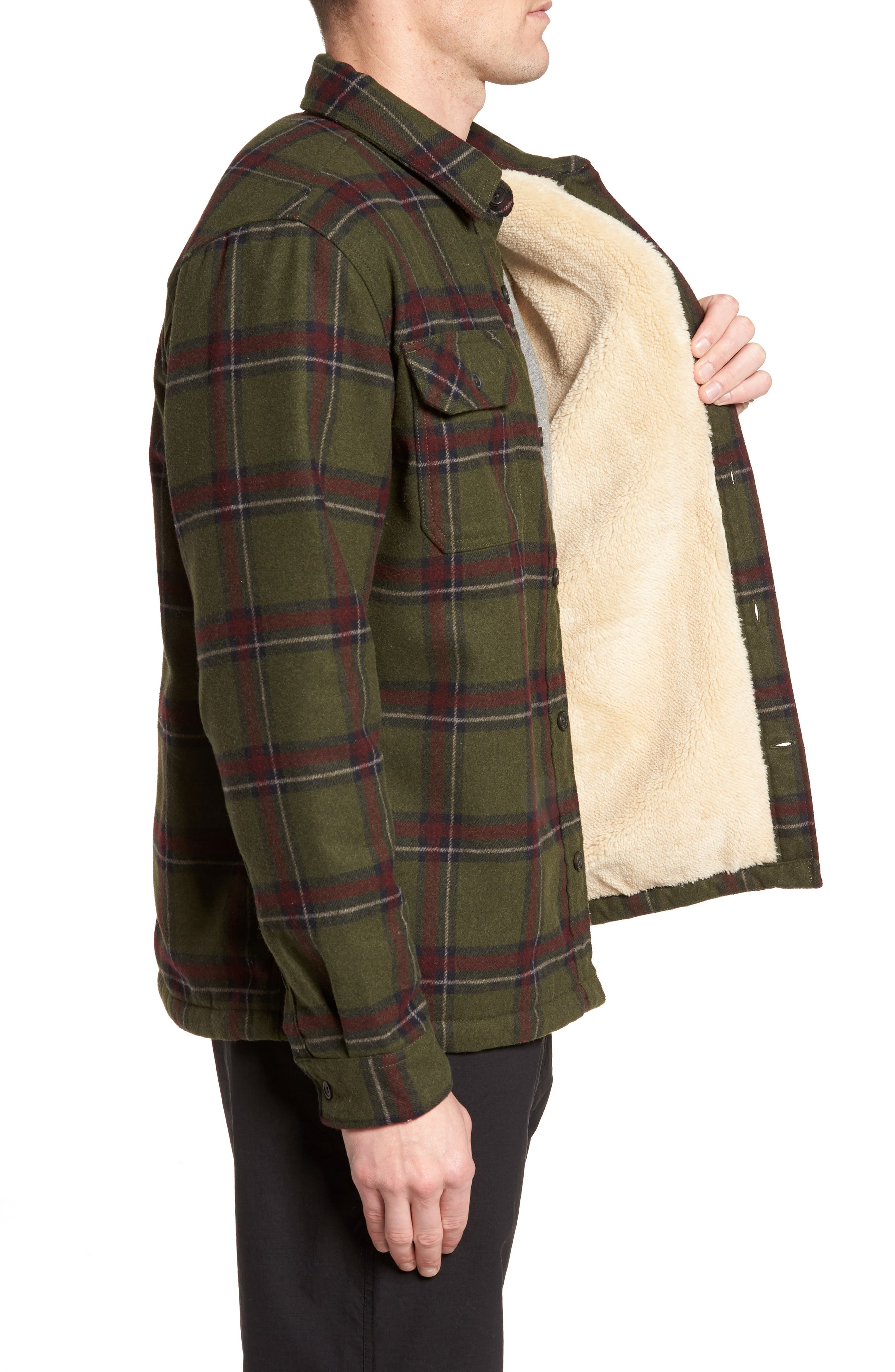 Tough Guy Plush Lined Flannel Shirt Jacket,                             Alternate thumbnail 3, color,                             Olive