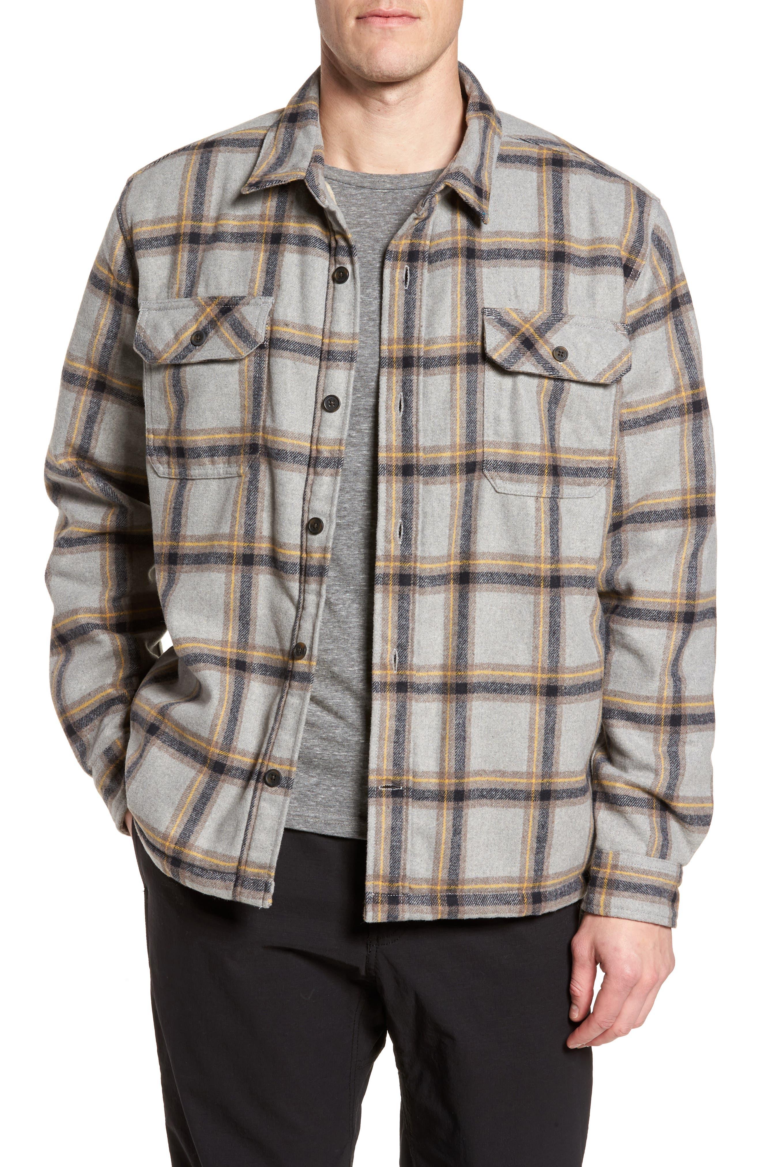Tough Guy Plush Lined Flannel Shirt Jacket,                         Main,                         color, Light Grey
