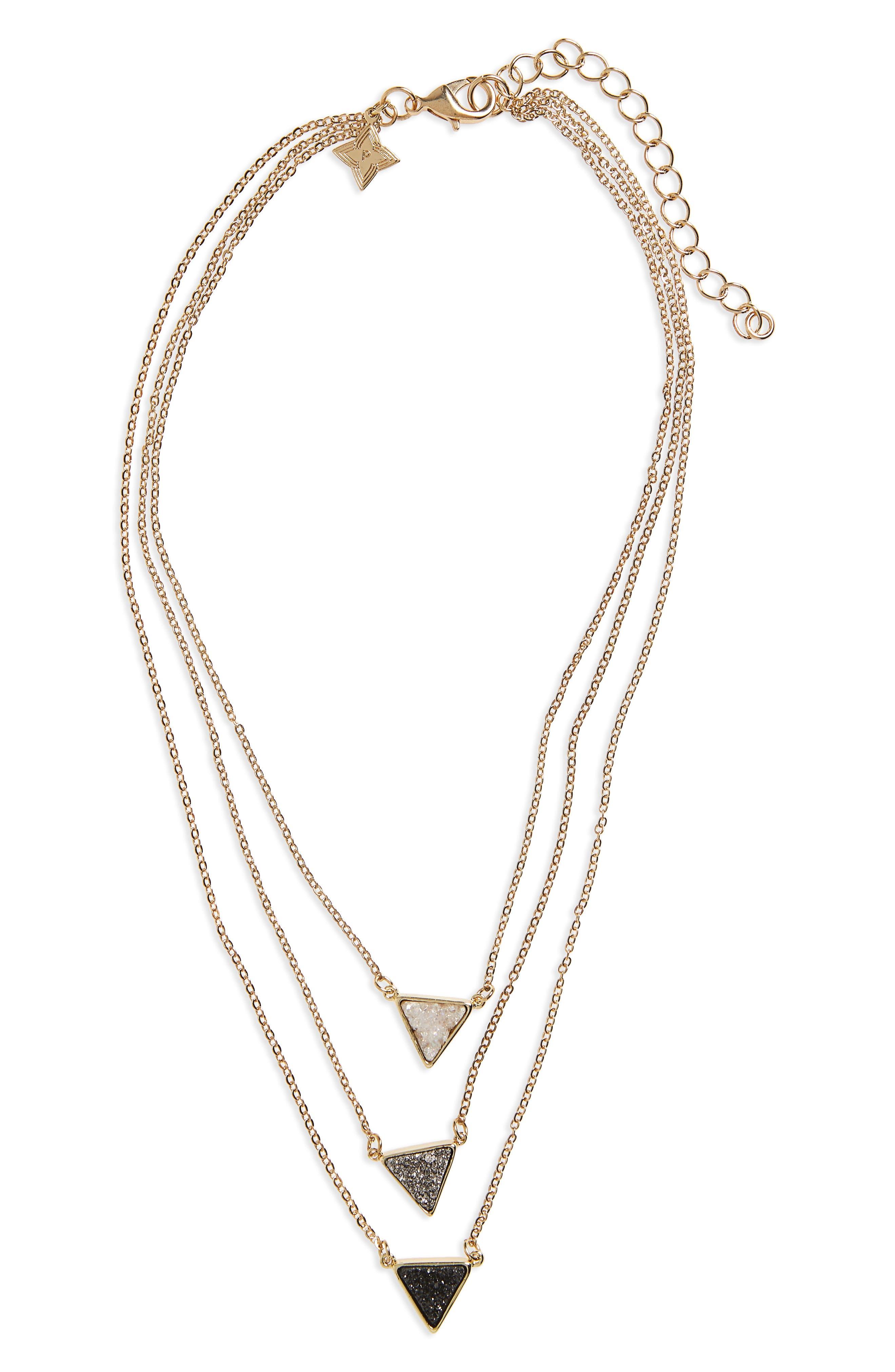 Drusy Multistrand Necklace,                         Main,                         color, Multi
