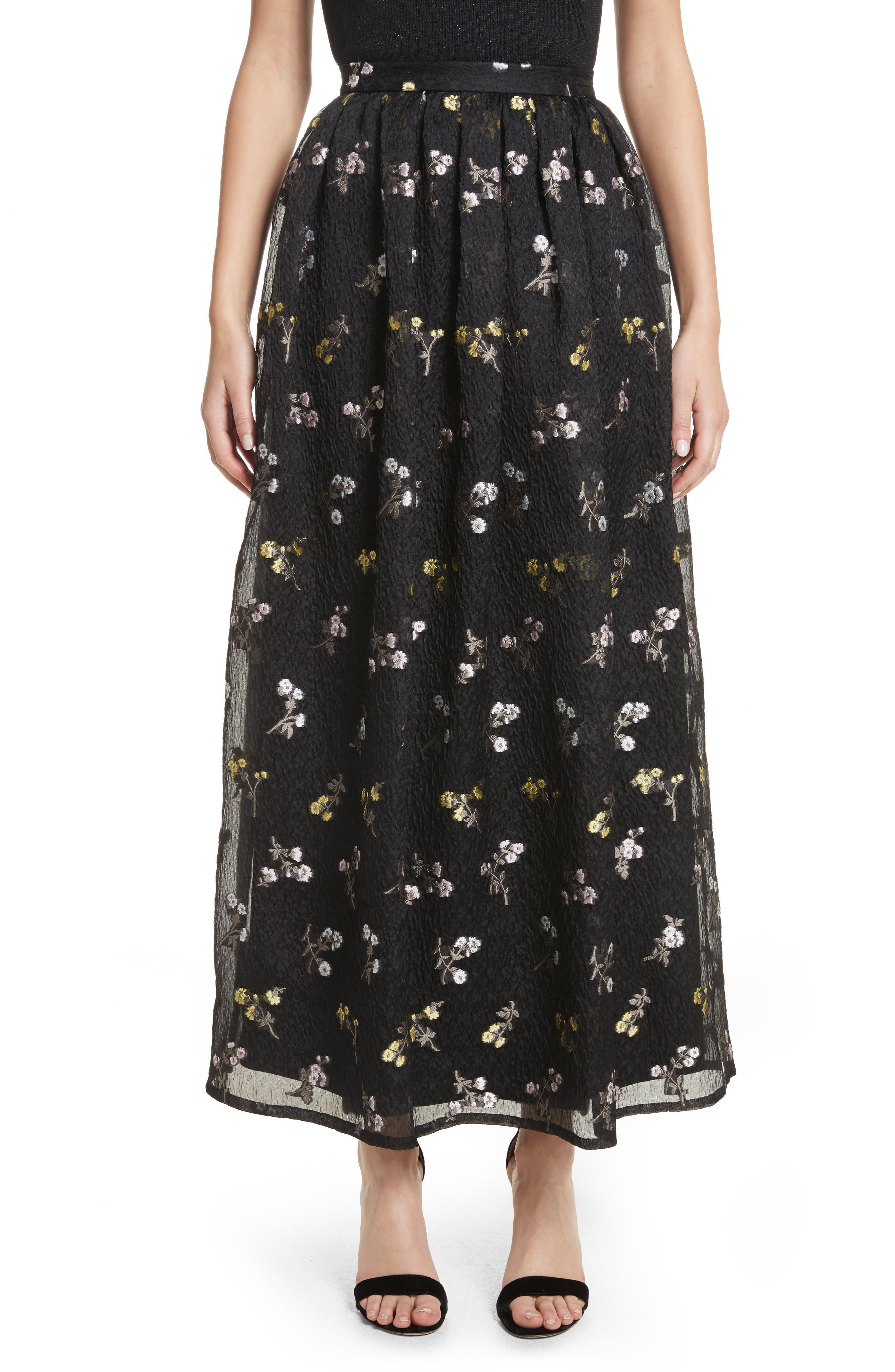 Floral Fil Coupé Organza Cloque Maxi Skirt,                         Main,                         color, Caviar Multi