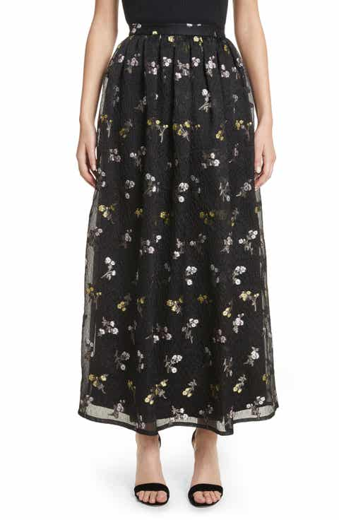 St. John Collection Floral Fil Coupé Organza Cloque Maxi Skirt