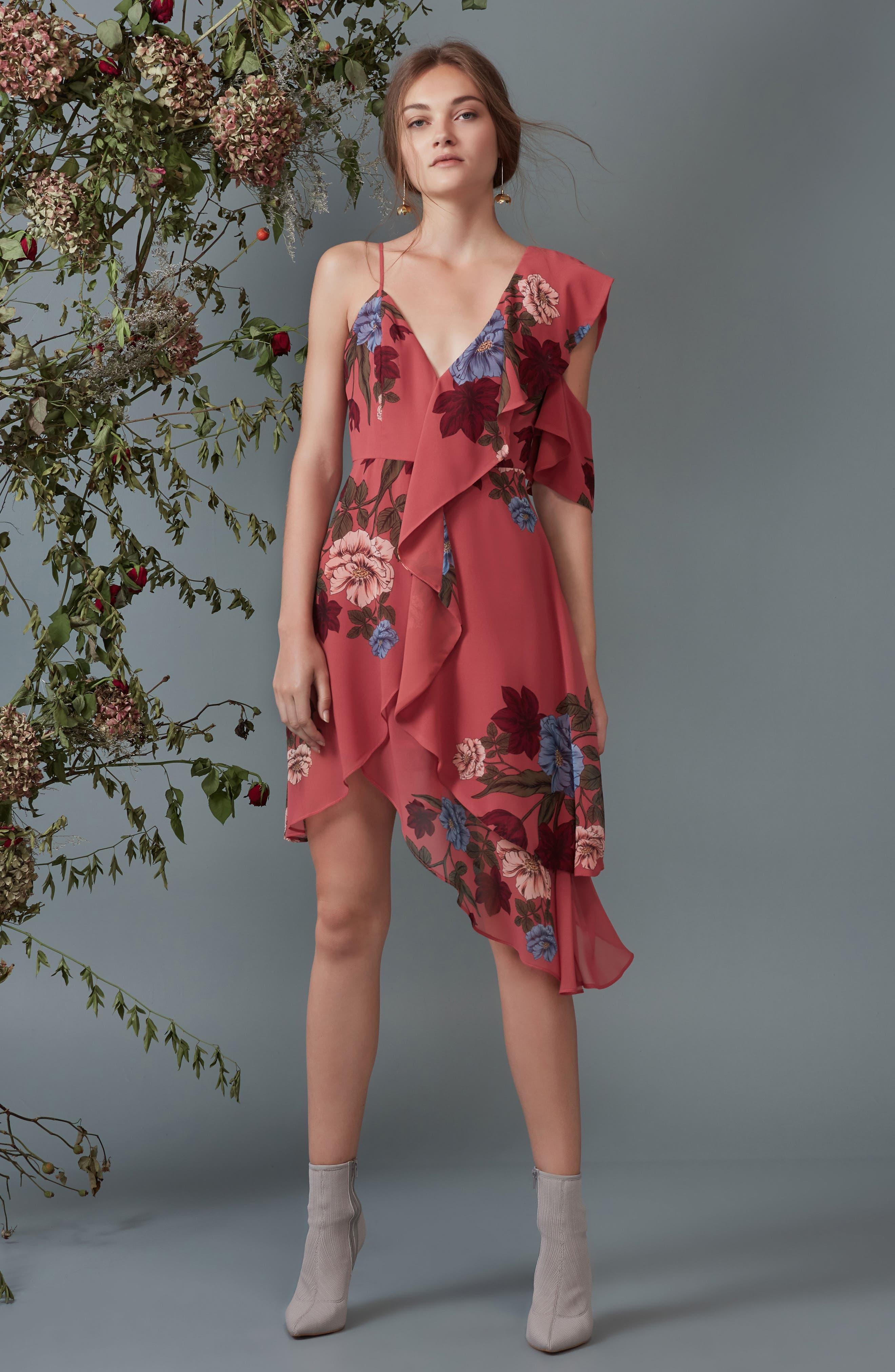 Night Lights Floral Asymmetrical Dress,                             Alternate thumbnail 7, color,                             Spice Floral