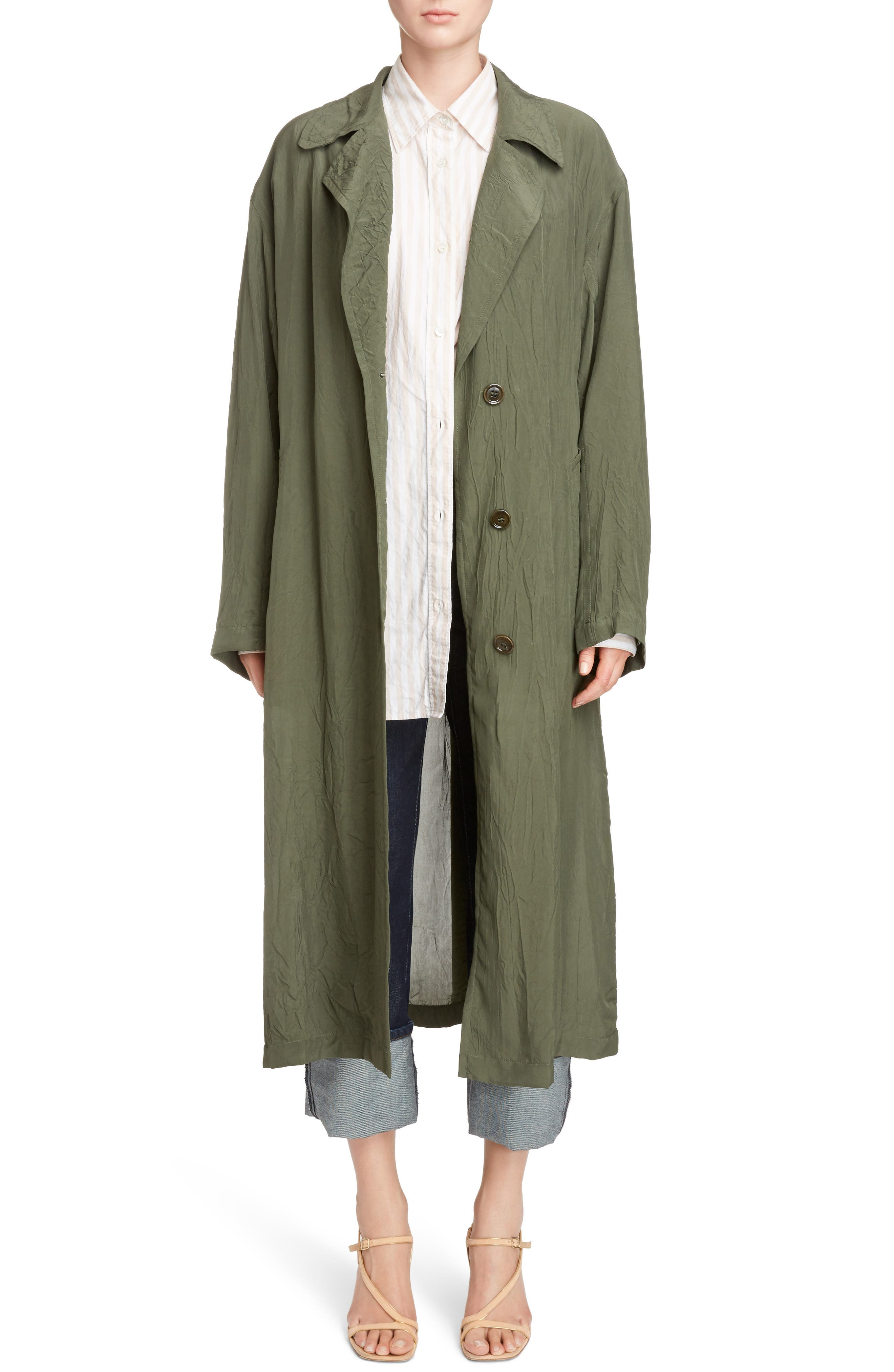 Crinkled Trench Coat,                             Main thumbnail 1, color,                             Green