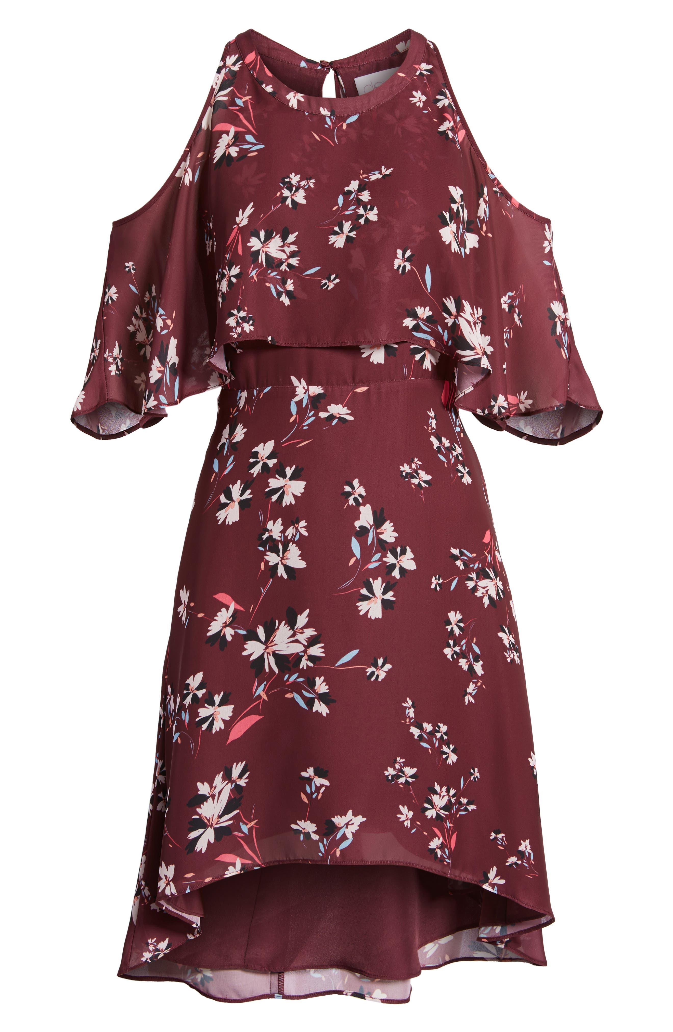Mia Cold Shoulder Dress,                             Alternate thumbnail 6, color,                             Lotus